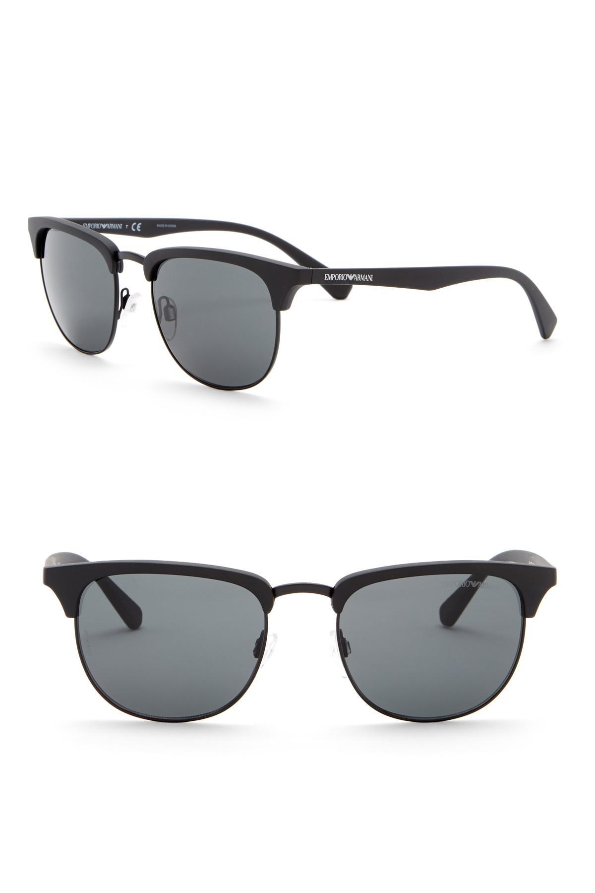 2030c8b70197 Lyst - Emporio Armani 52mm Clubmaster Metal Frame Sunglasses for Men