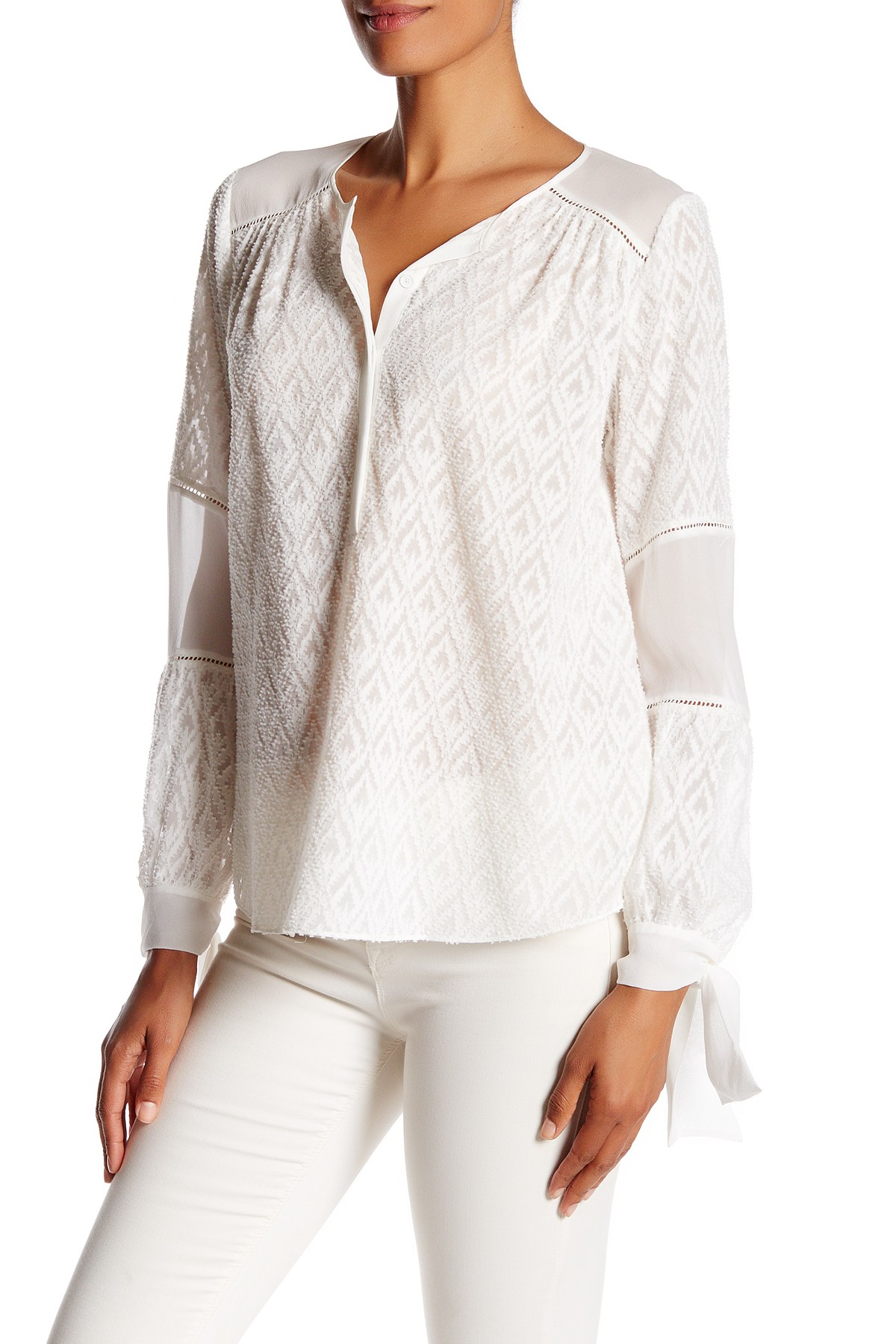 Lyst Rebecca Taylor Long Sleeve Geo Embroidered Silk