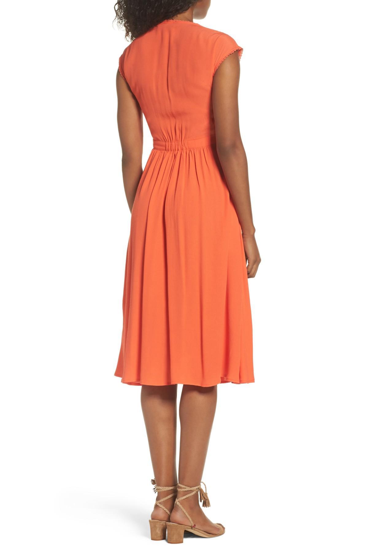 Lyst Knot Sisters Secret Garden Midi Dress In Orange