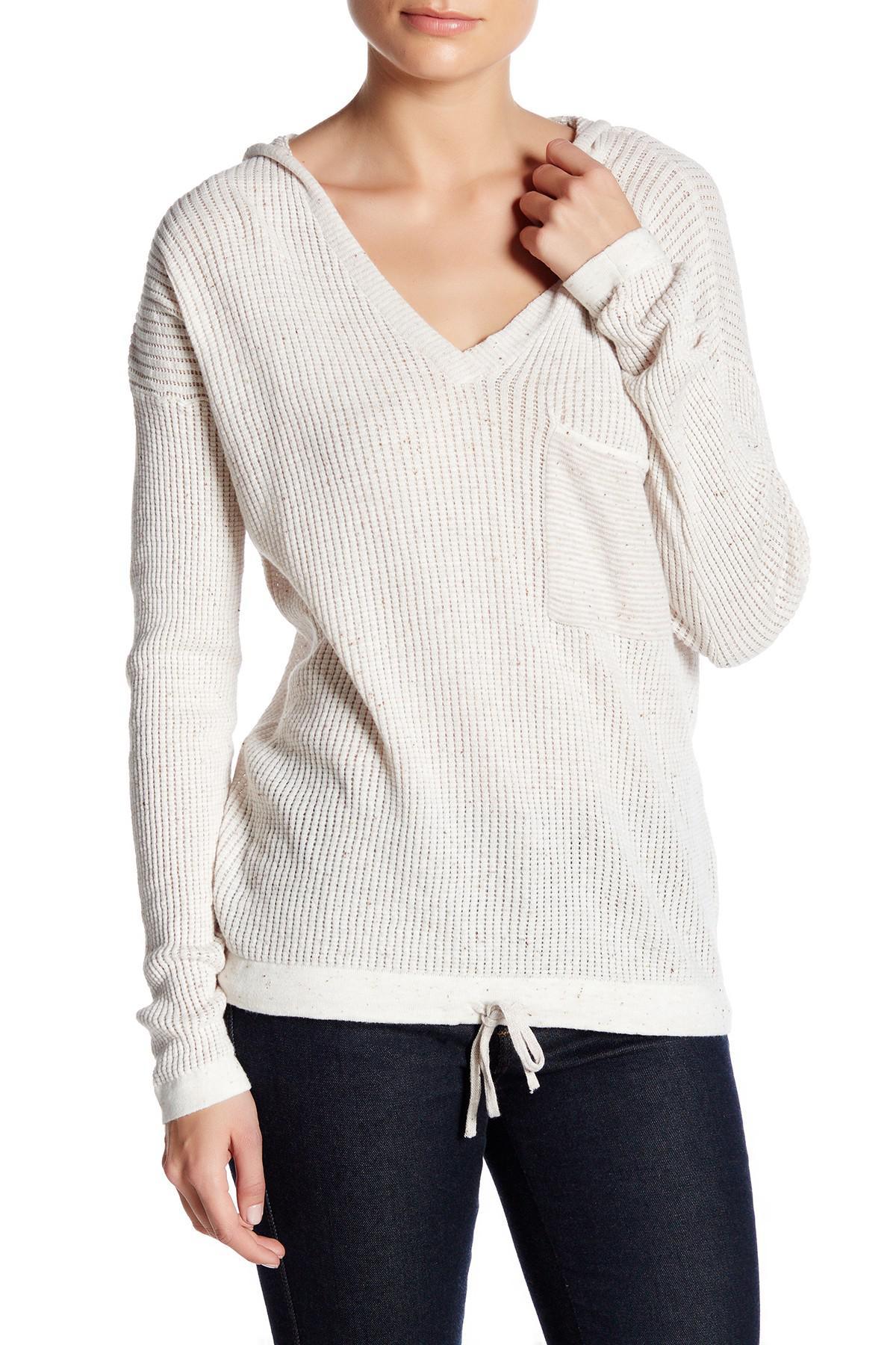 Lyst - Democracy V-neck Knit Hooded Sweater in White 08cb03c53