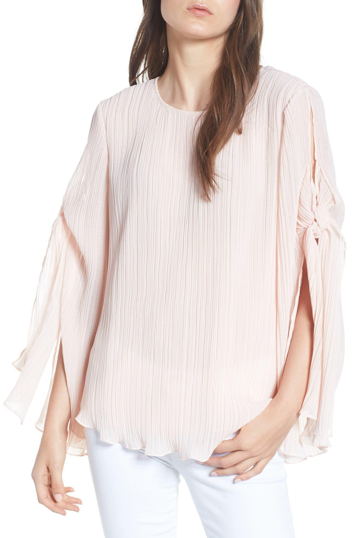 d04f3848359249 Lyst - Chelsea28 Pleated Tie Sleeve Top in Pink