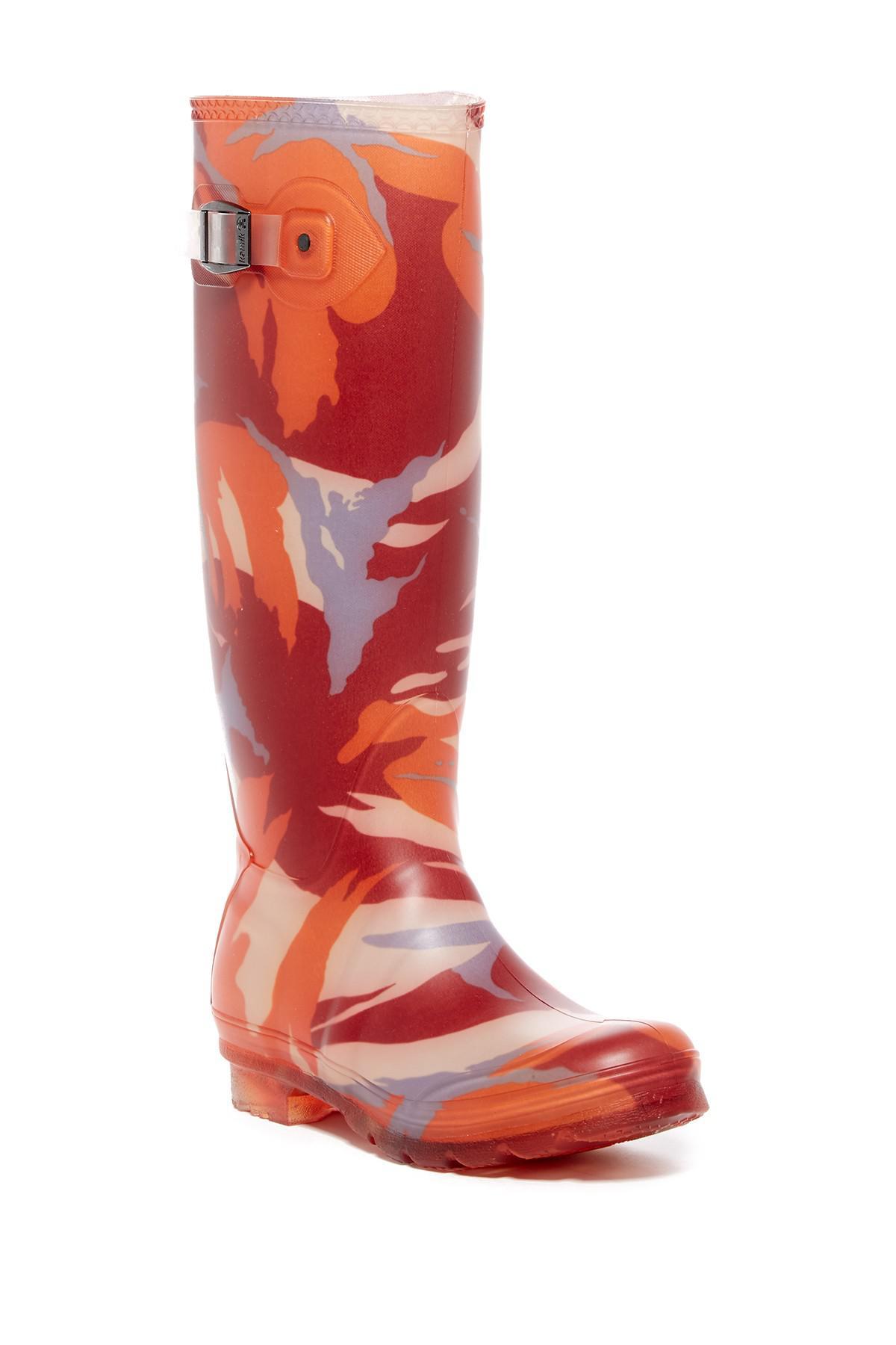 Kamik. Women's Red Mission Printed Waterproof Rubber Rain Boot
