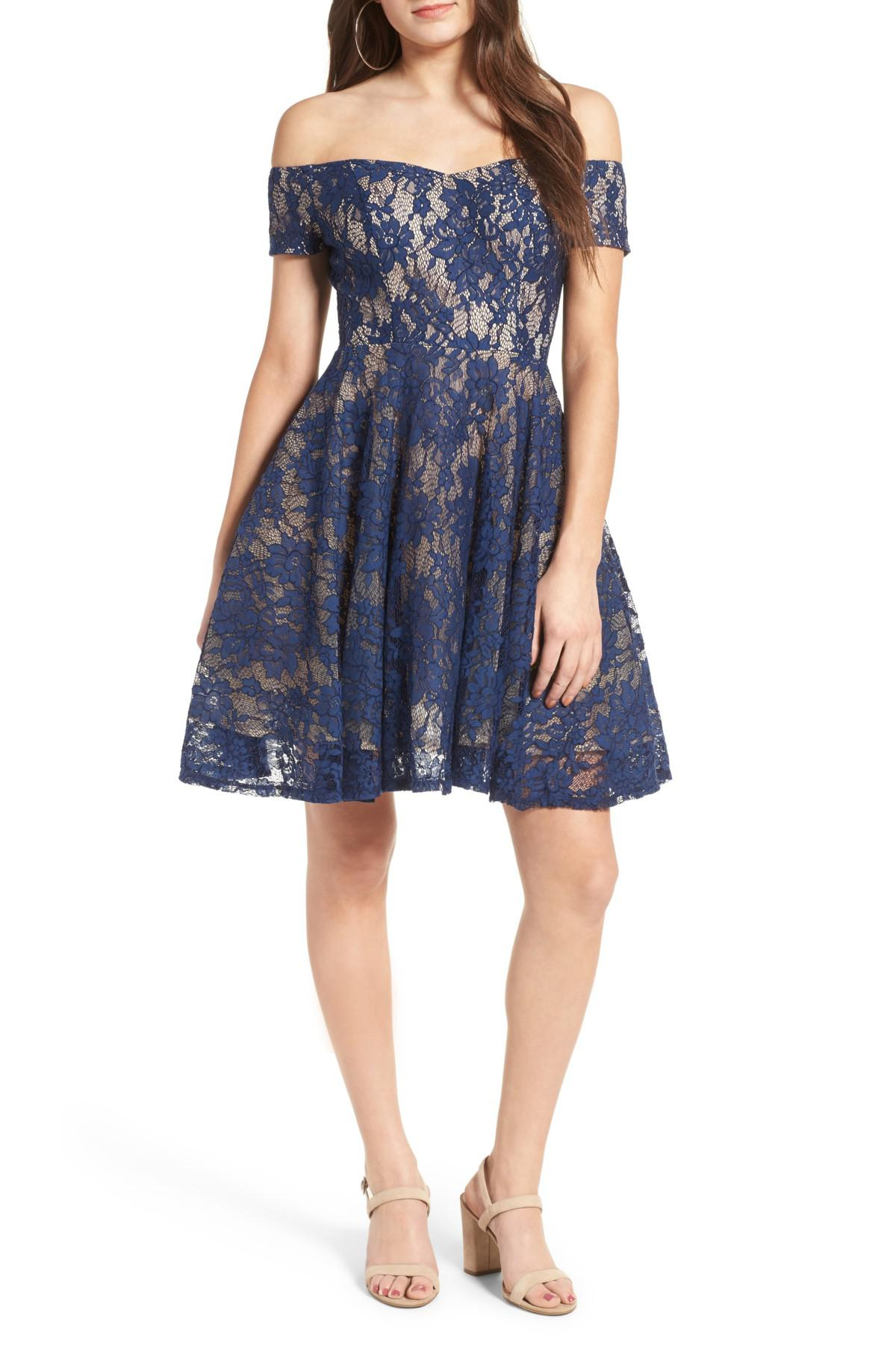 9c5466a3d1c5 Lyst - Soprano Lace Off The Shoulder Fit   Flare Dress in Blue