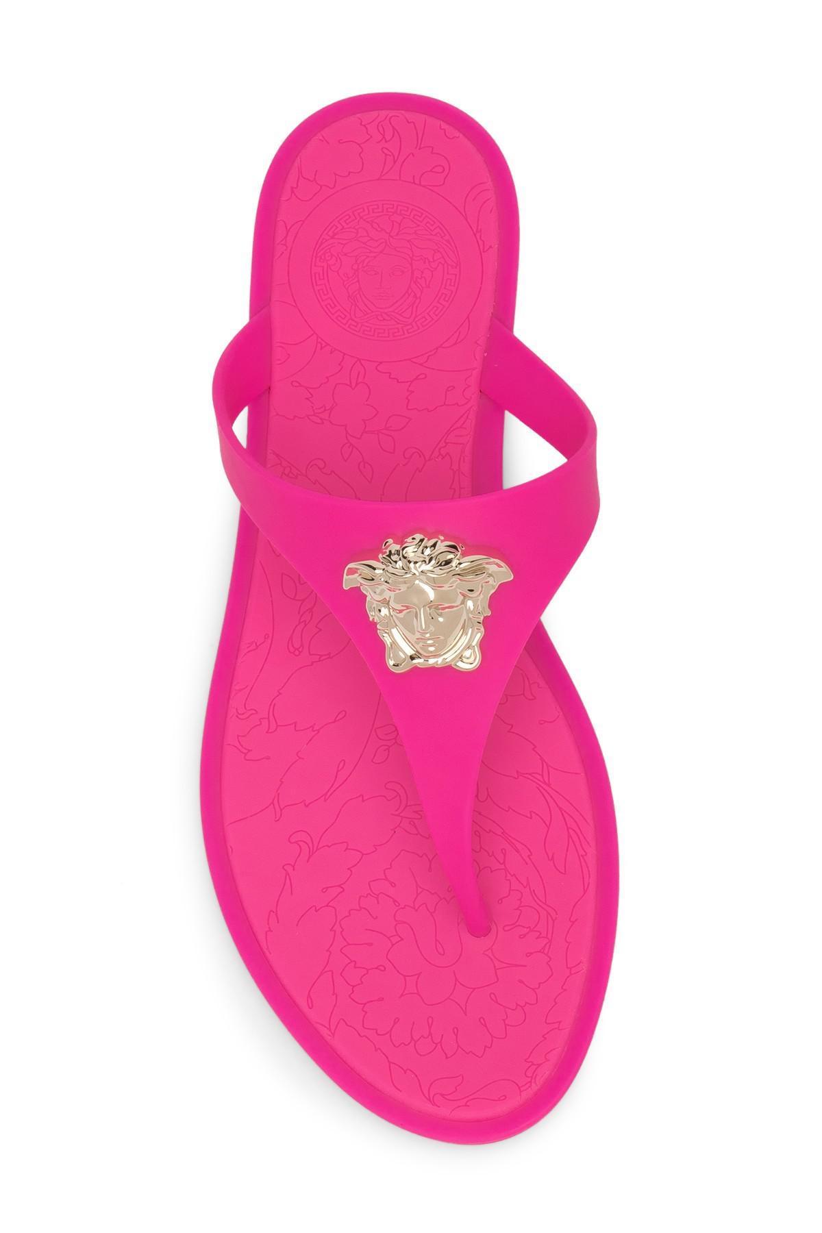 versace pink flip flops