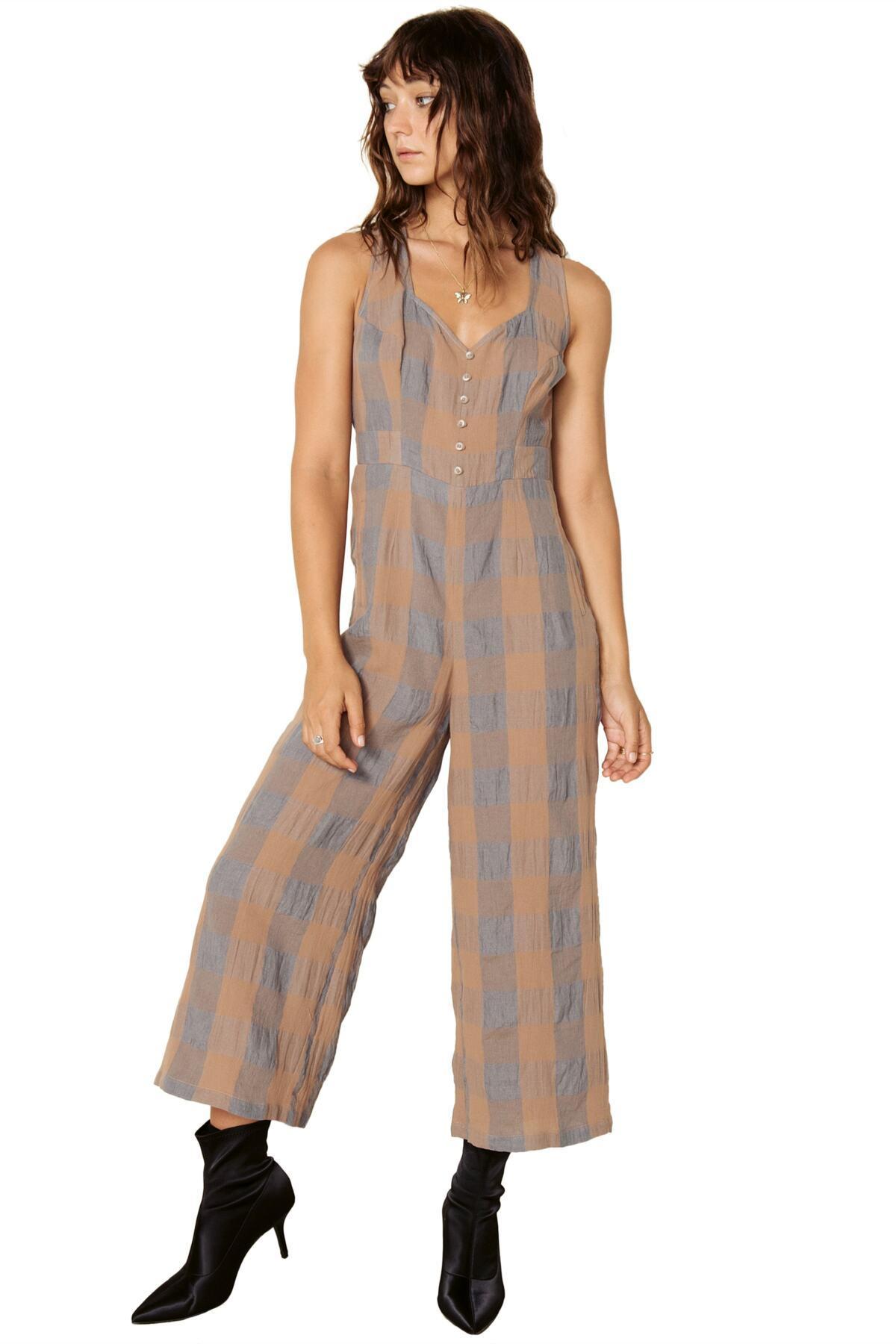 eae6ec174995 Lyst - The East Order Frankie Check Linen Blend Jumpsuit in Brown ...