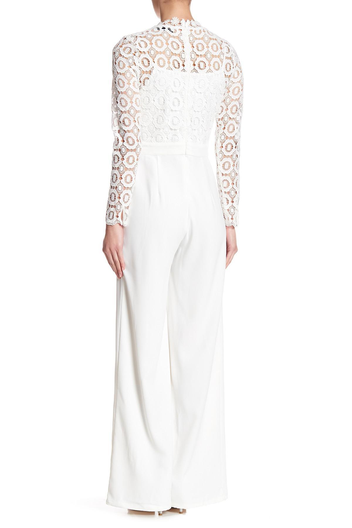 e1330ddcb16 Lyst - Sugarlips Ariella Crochet Jumpsuit in White