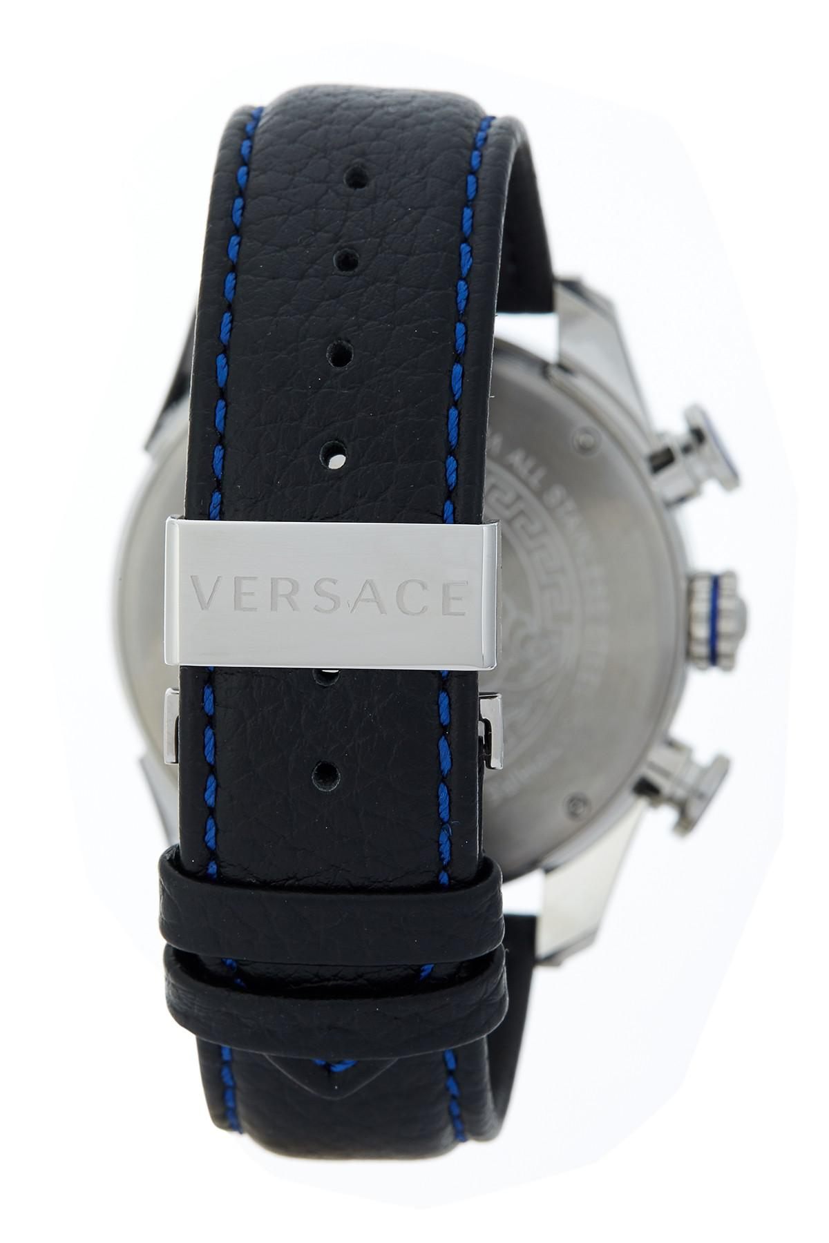 b134e95c Versace Metallic Men's V-ray Chronograph Leather Strap Watch for men
