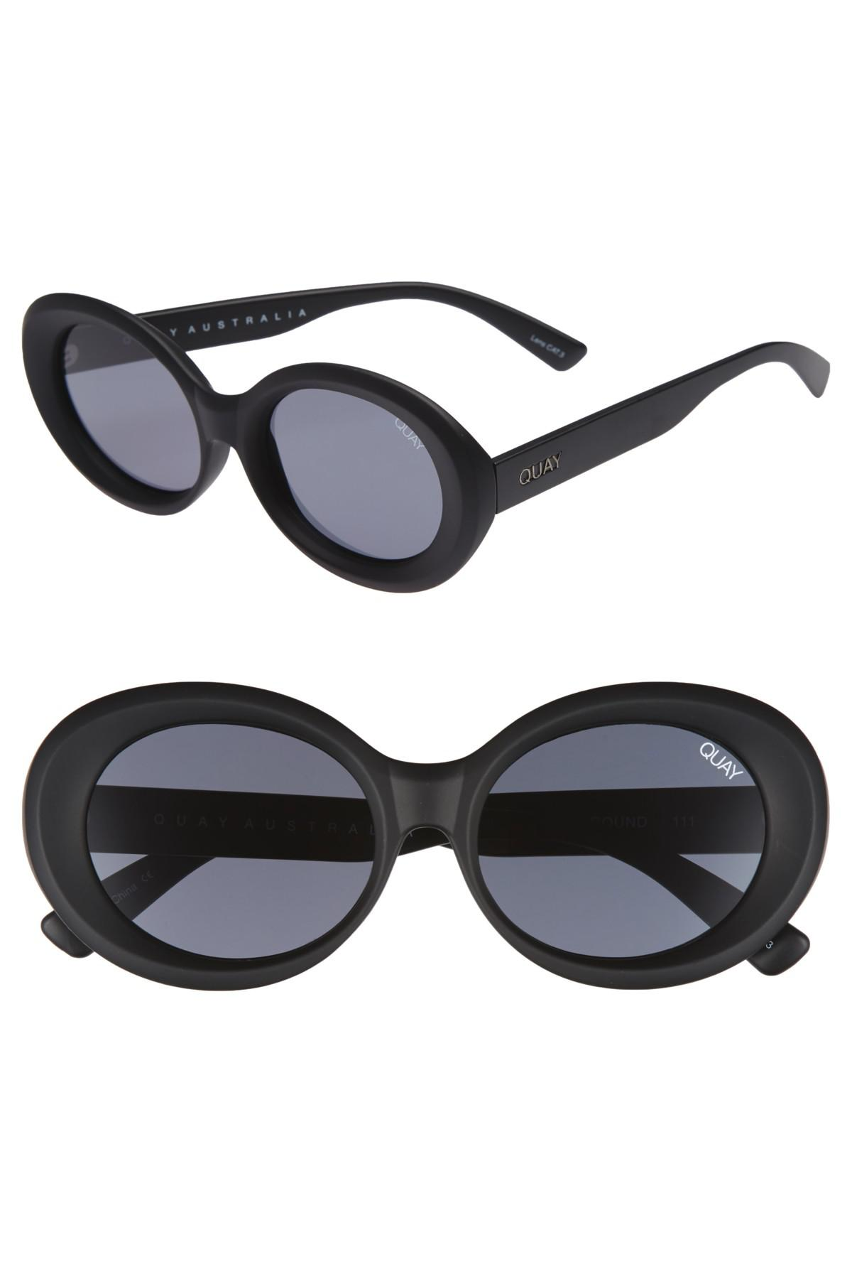 77a8ae7e68 Lyst - Quay Mess Around 52mm Oval Sunglasses in Black