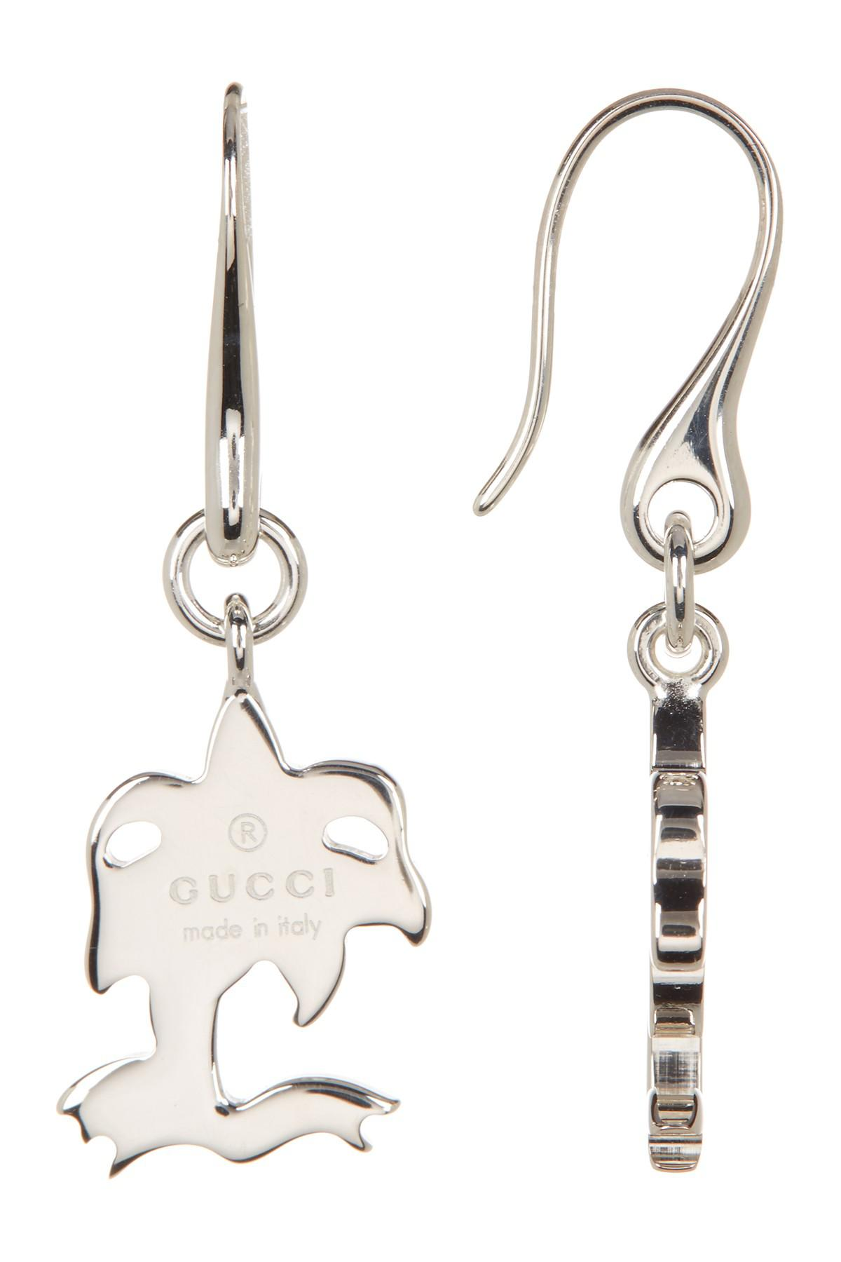 30fd85f52ad Lyst - Gucci Sterling Silver Charm Drop Earrings in Metallic