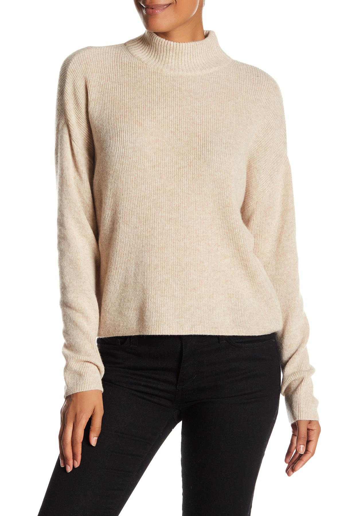 Catherine malandrino Crop Mock Neck Cashmere Sweater in Natural | Lyst