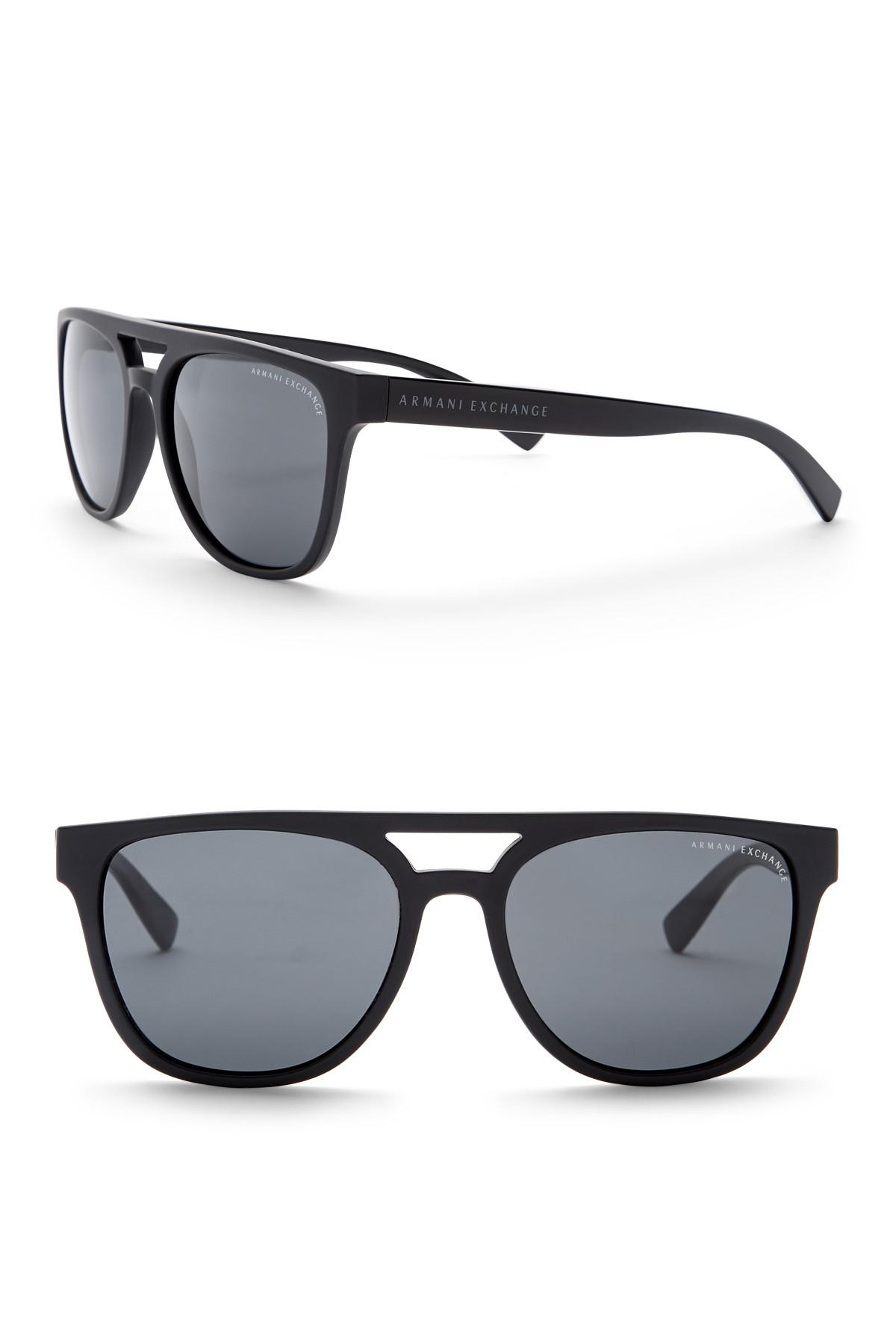 a845f7bf228c Lyst - Armani Exchange Men s Brow Bar 55mm Acetate Frame Sunglasses ...