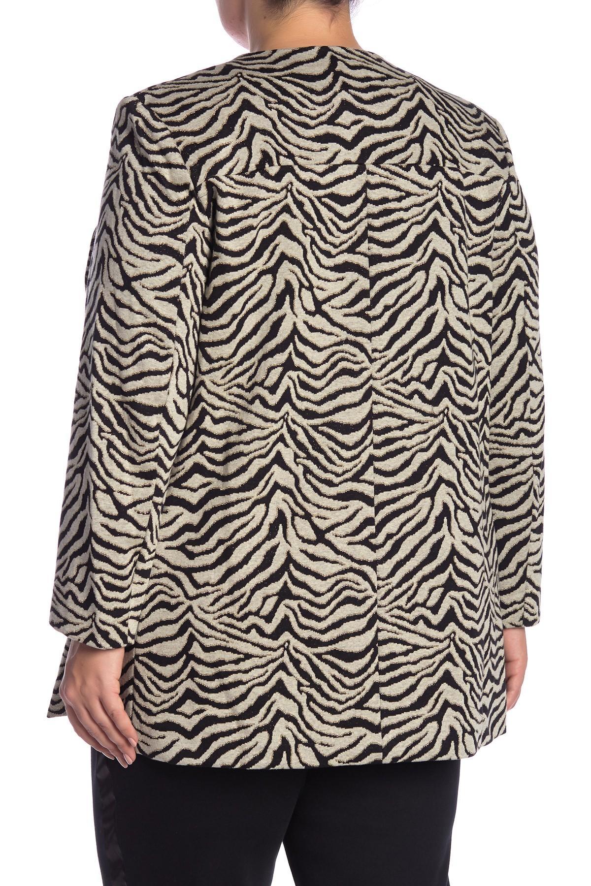 689034859652a Joan Vass - Multicolor Tiger Knit Jacket (plus Size) - Lyst. View fullscreen