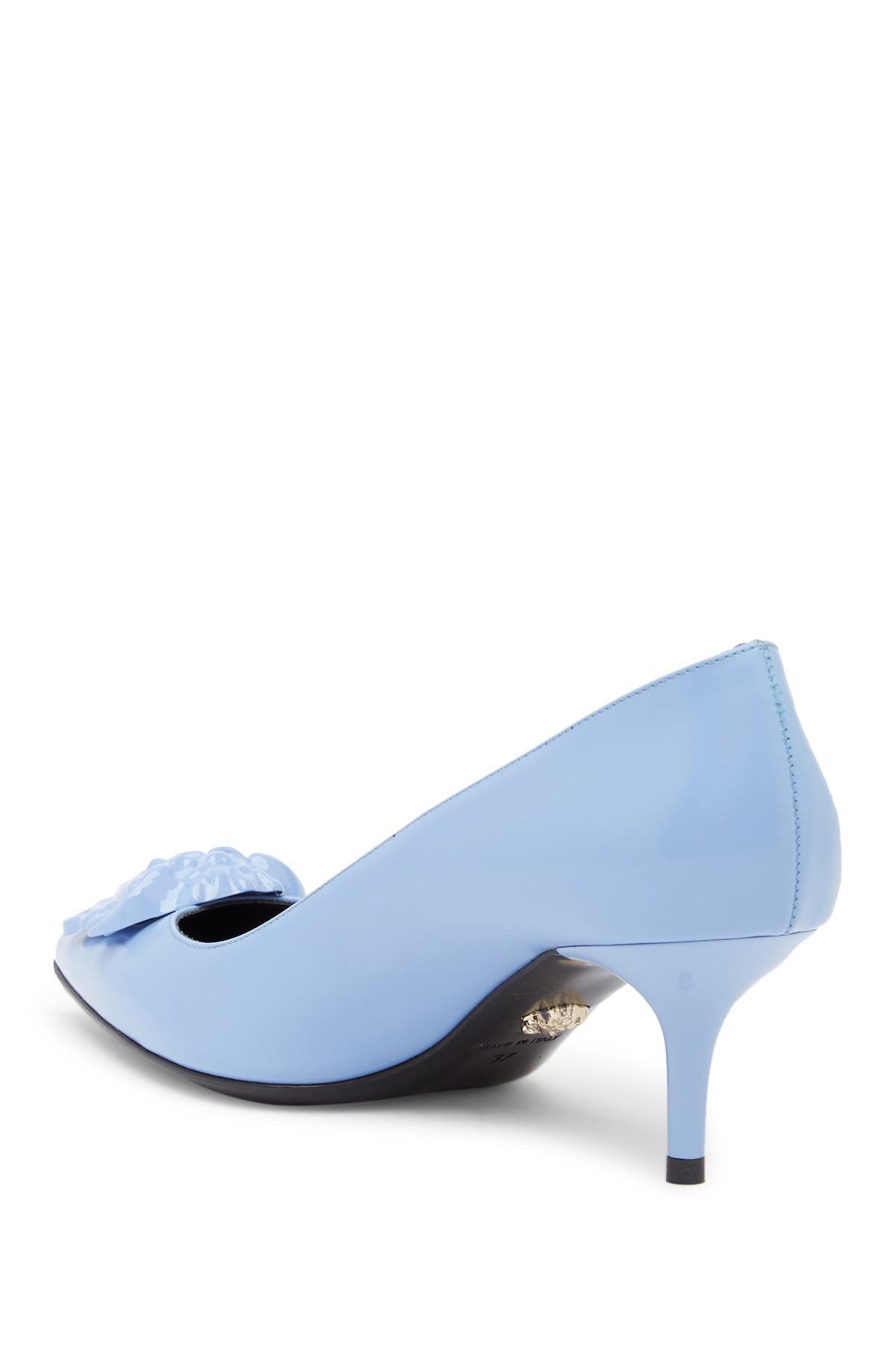 Versace Medusa Kitten Heel in Blue - Lyst