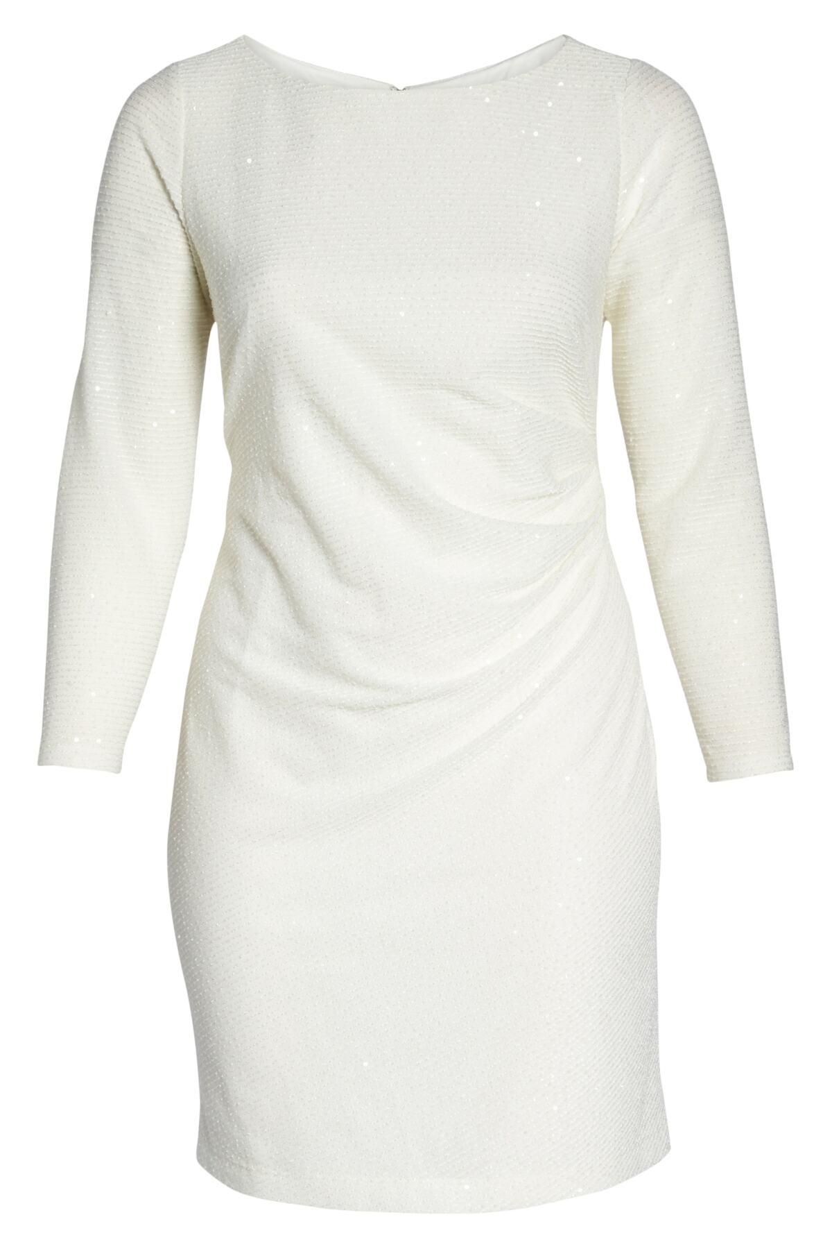 Vince Camuto White Sequin & Ruched Body-con Dress (plus Size)