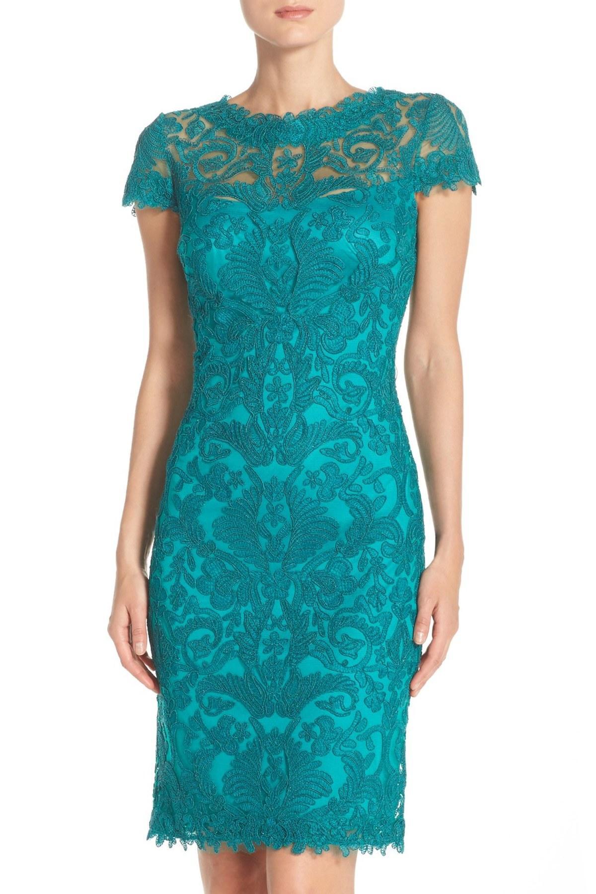 Lyst - Tadashi Shoji Illusion Yoke Lace Sheath Dress in Blue