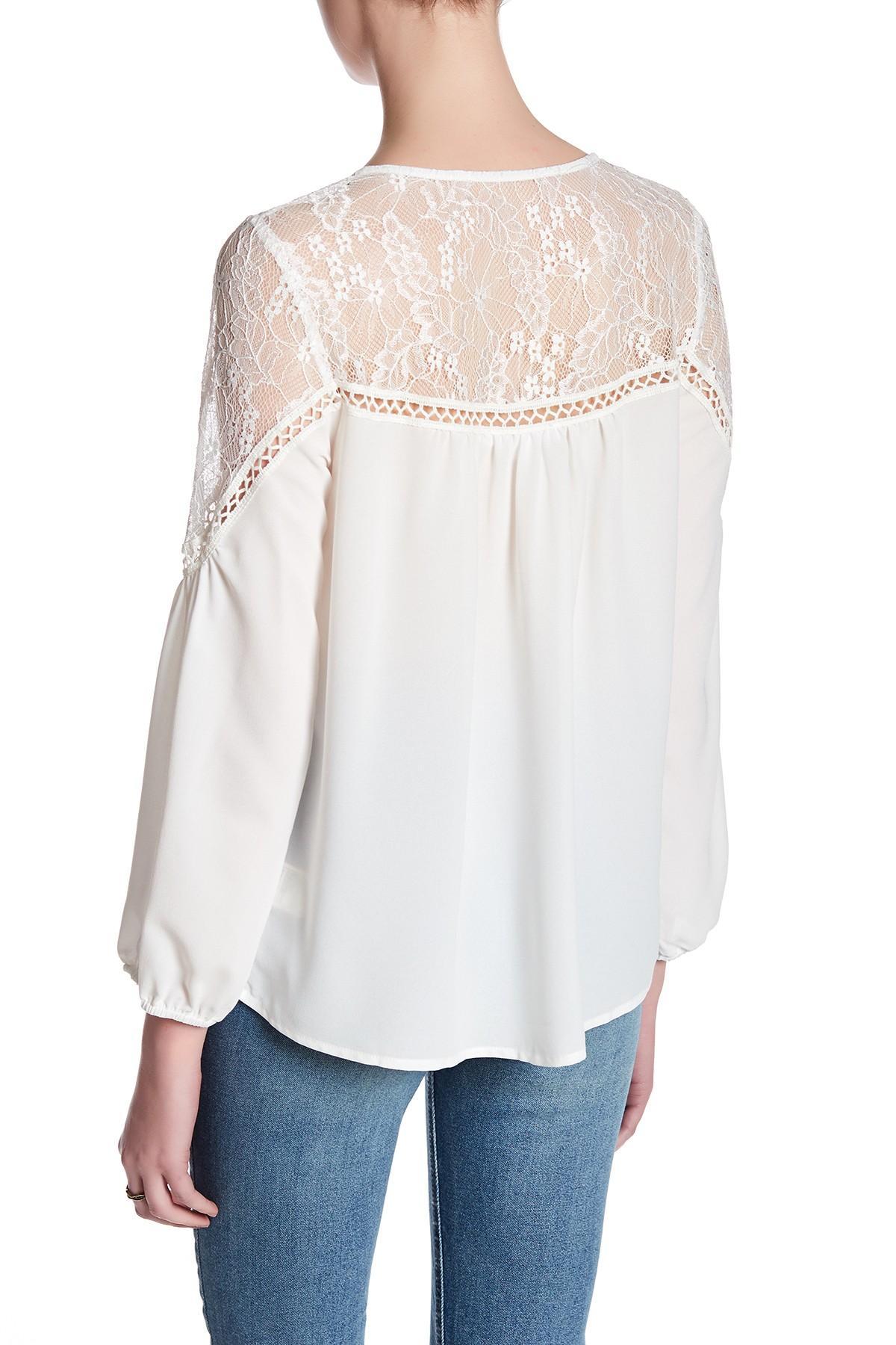 Lyst Bb Dakota Lace Long Sleeve Blouse In White