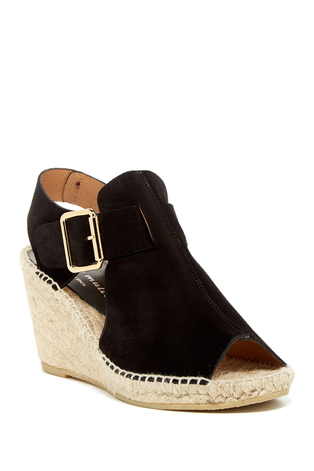 Bettye Muller Dawn Suede Espadrille Wedge Sandal In Black