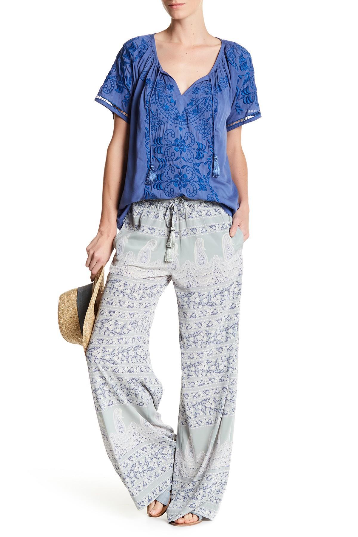 Lyst Calypso St Barth Bironia Silk Blend Pant In Blue