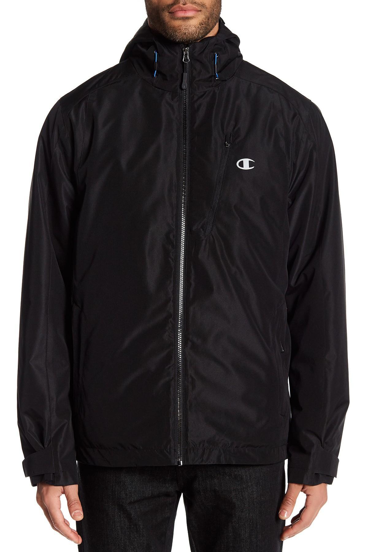 Champion Hooded Windbreaker In Black For Men Lyst