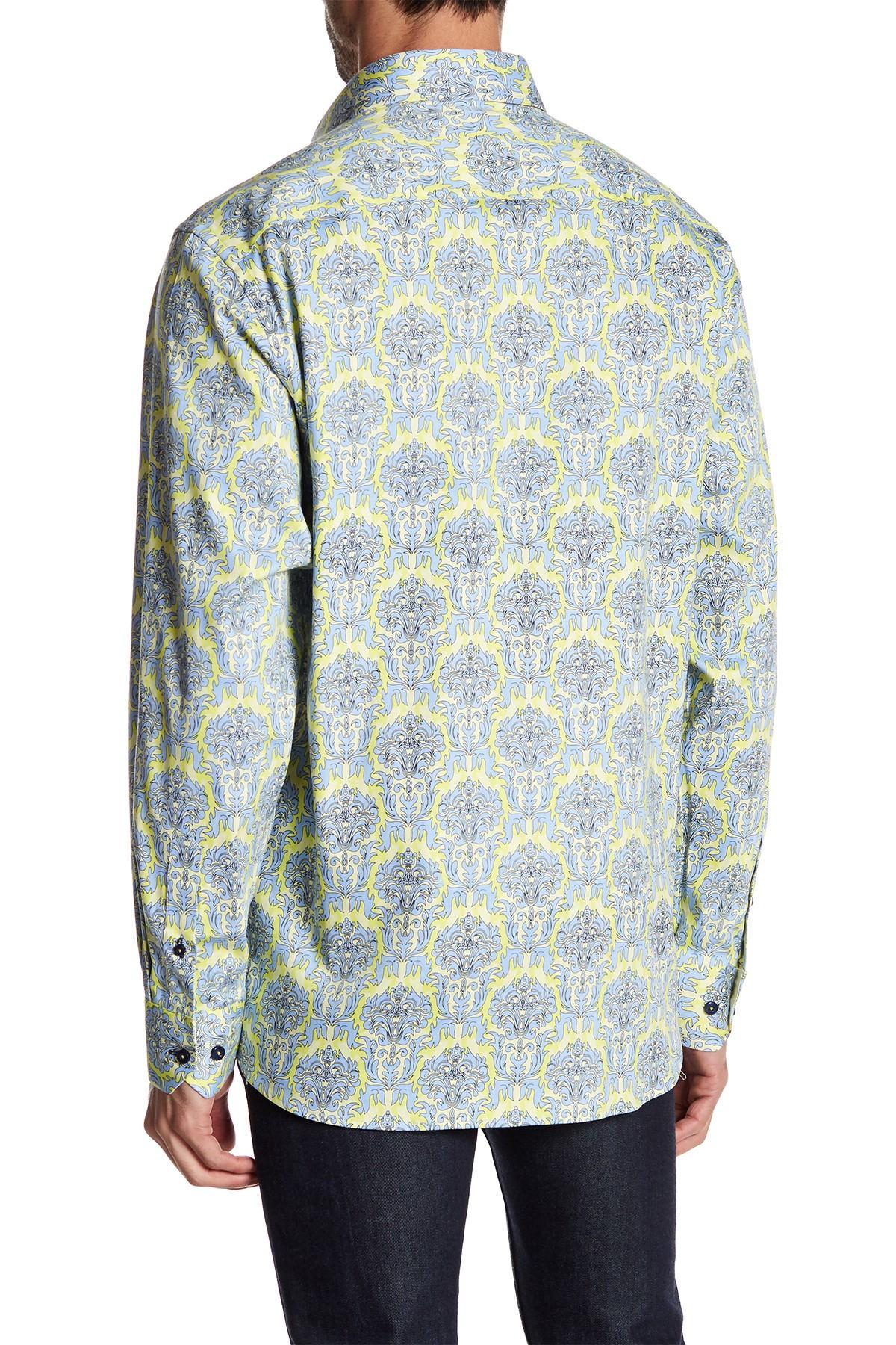 Lyst coogi printed regular fit dress shirt in blue for men for Regular fit dress shirt