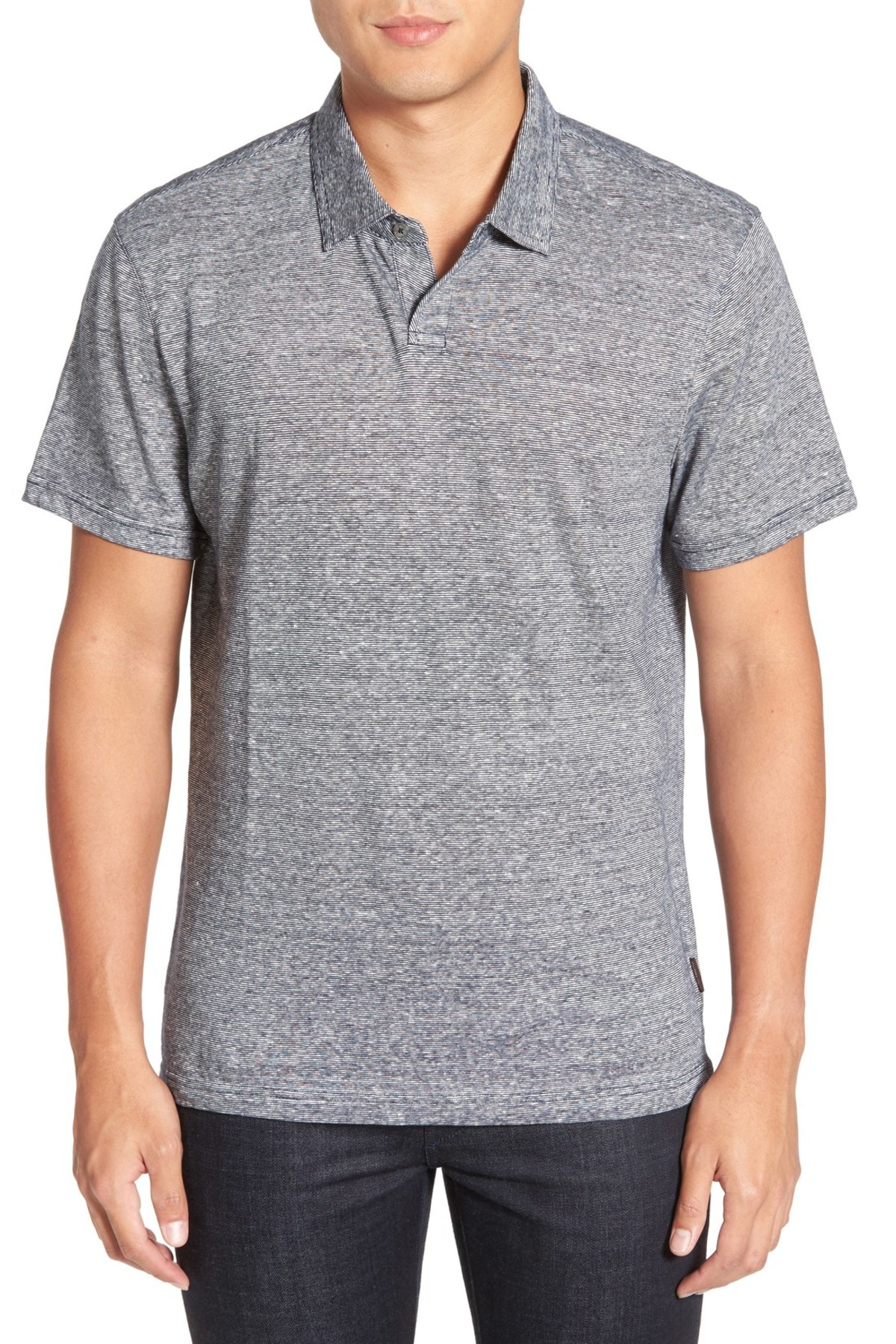 Michael Kors Microstripe Cotton Linen Polo In Gray For