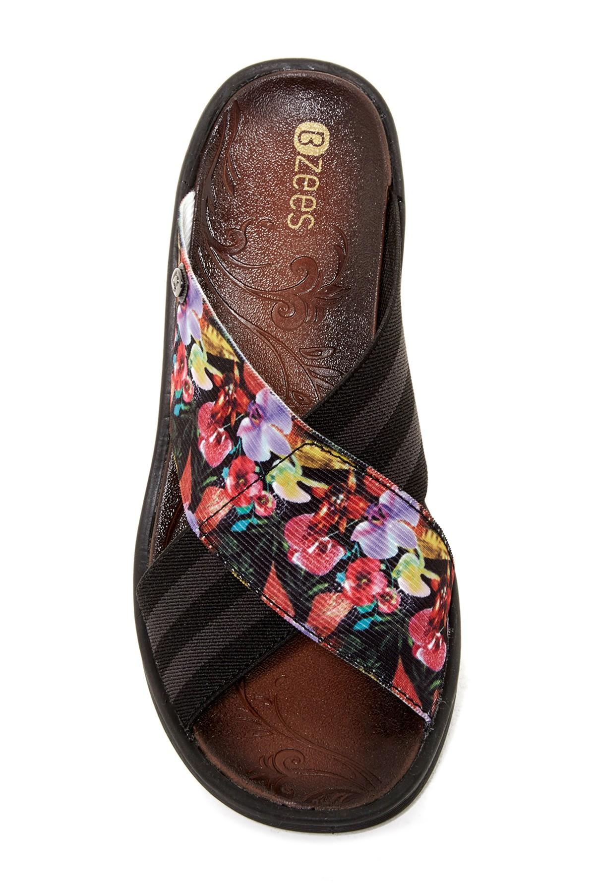 Lyst Bzees Desire Stripe Amp Floral Wedge Sandal In Black