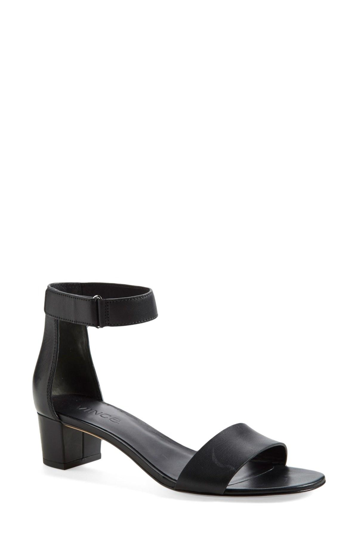 Vince Rita Croc Embossed Block Heel Sandal In Black Lyst
