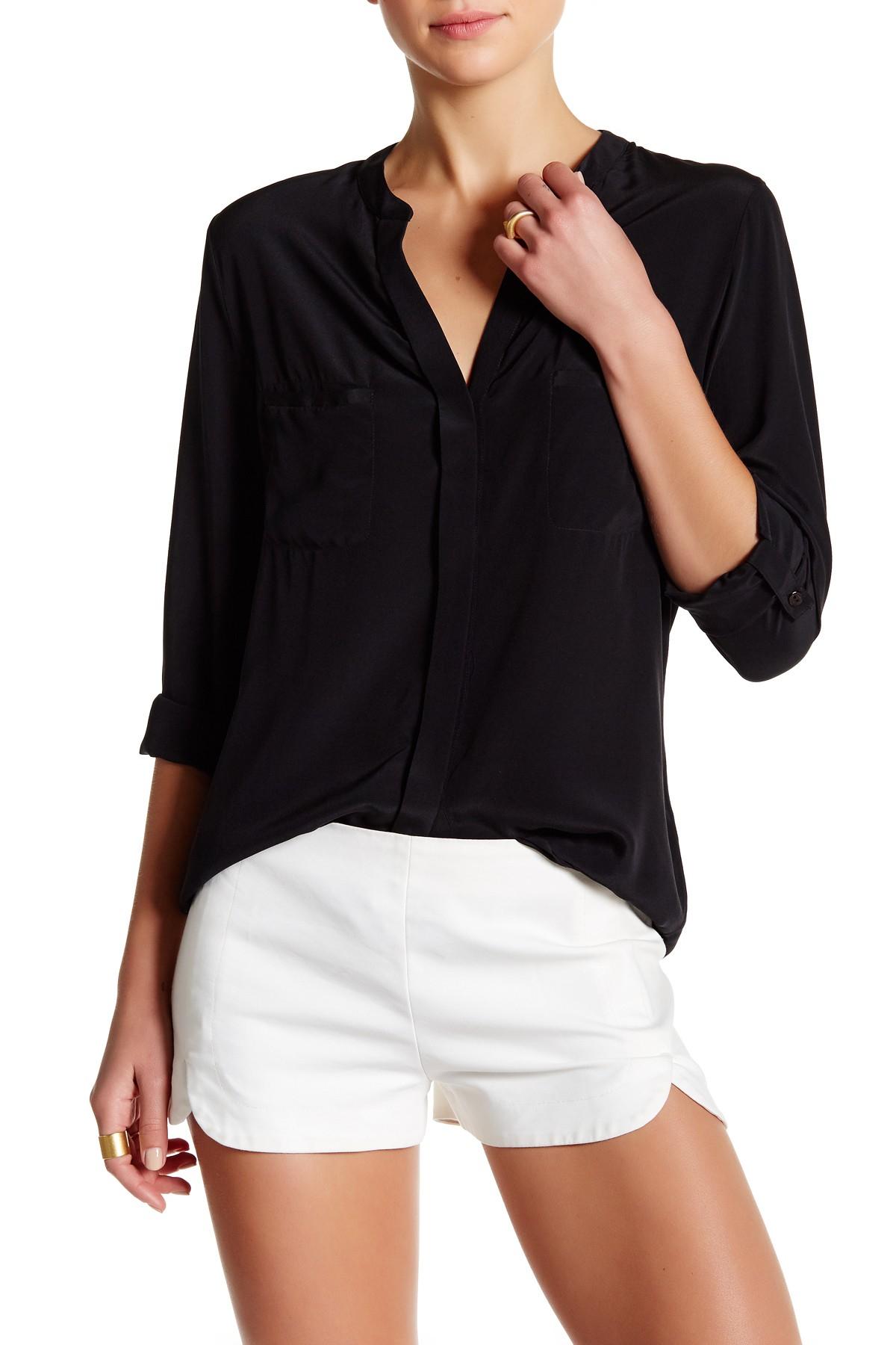 Lyst David Lerner Mandarin Collar Silk Blouse In Black