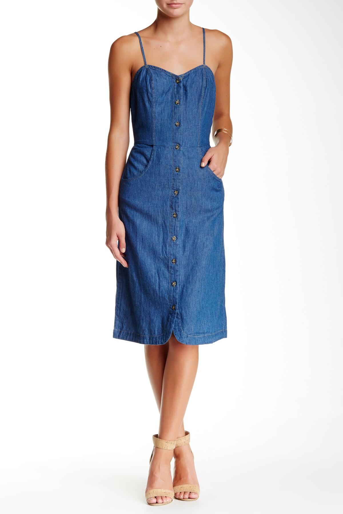 Lyst Mimi Chica Spaghetti Strap Denim Button Down Dress