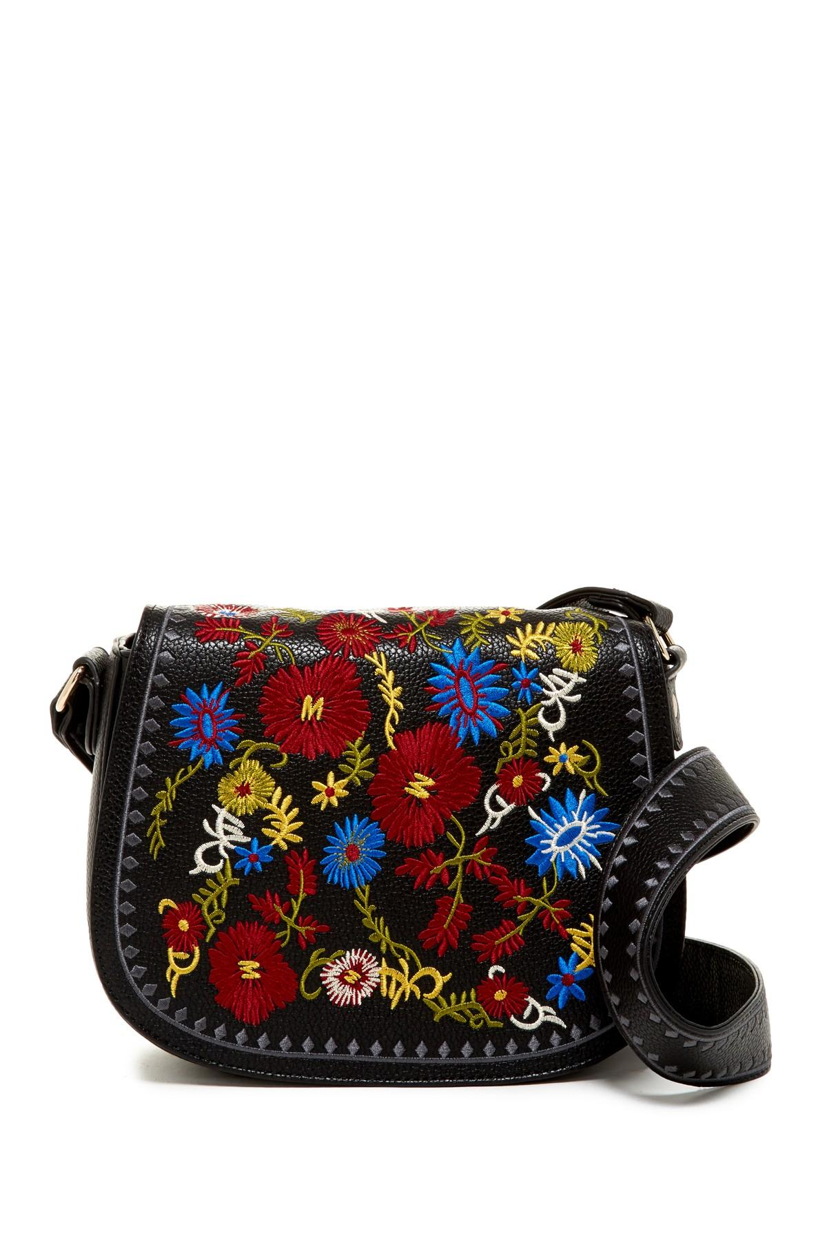 lyst steve madden bzuri embroidered saddle bag in black