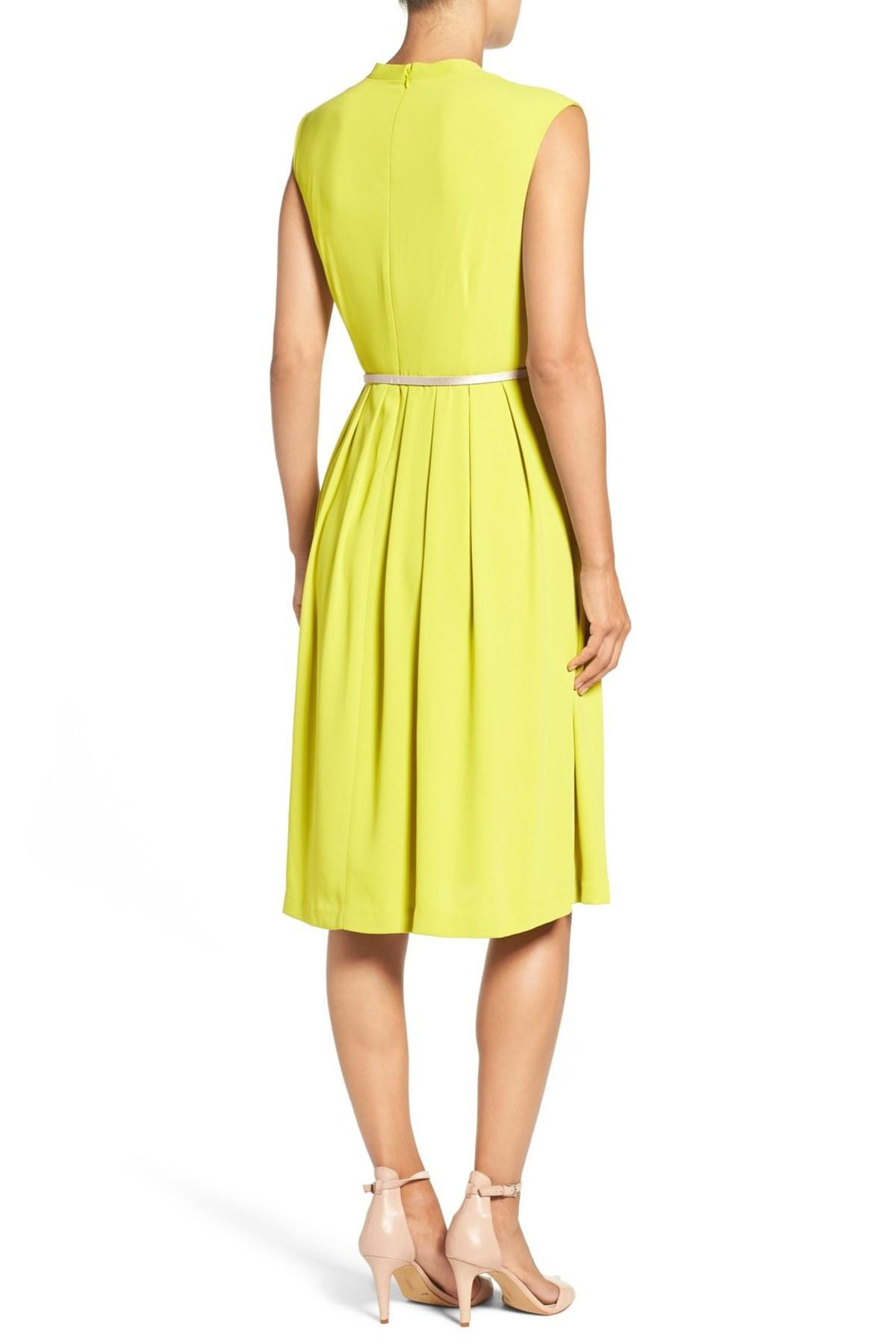 Ellen Tracy Belted Woven Fit Amp Flare Dress In Yellow Lyst