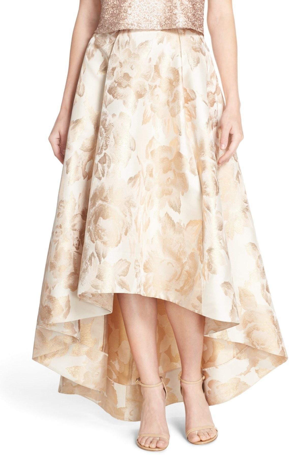 9ddd1f86528 Lyst - Eliza J Jacquard High low Ball Skirt in Metallic