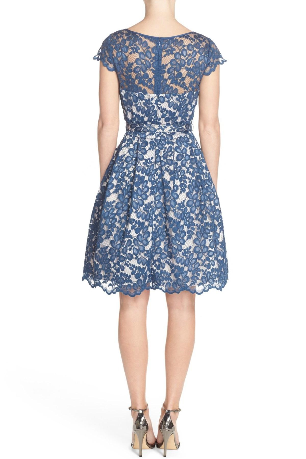 Eliza J Lace Belted Fit Amp Flare Dress In Navy Blue Lyst