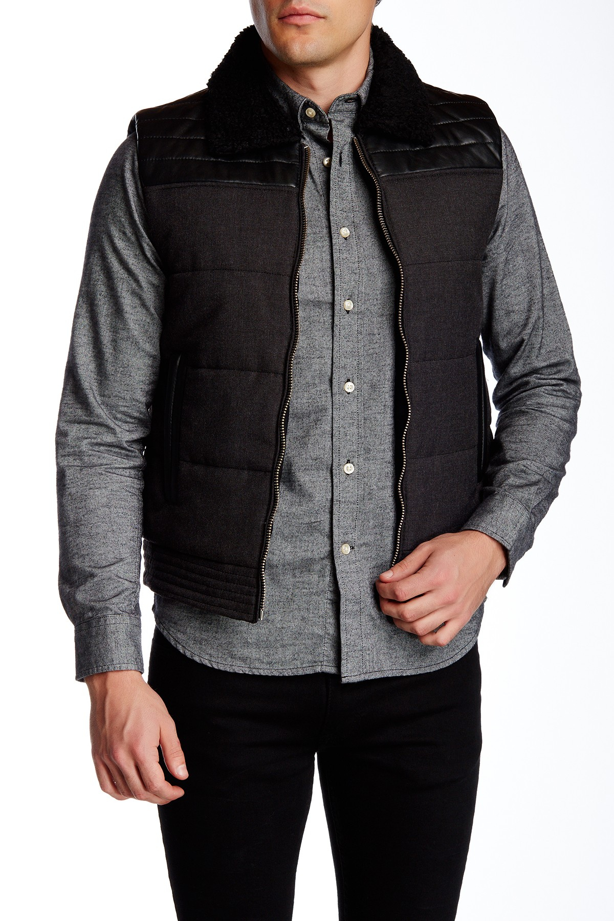 Slate And Stone Clothing : Slate stone faux fur spread collar vest in black for men