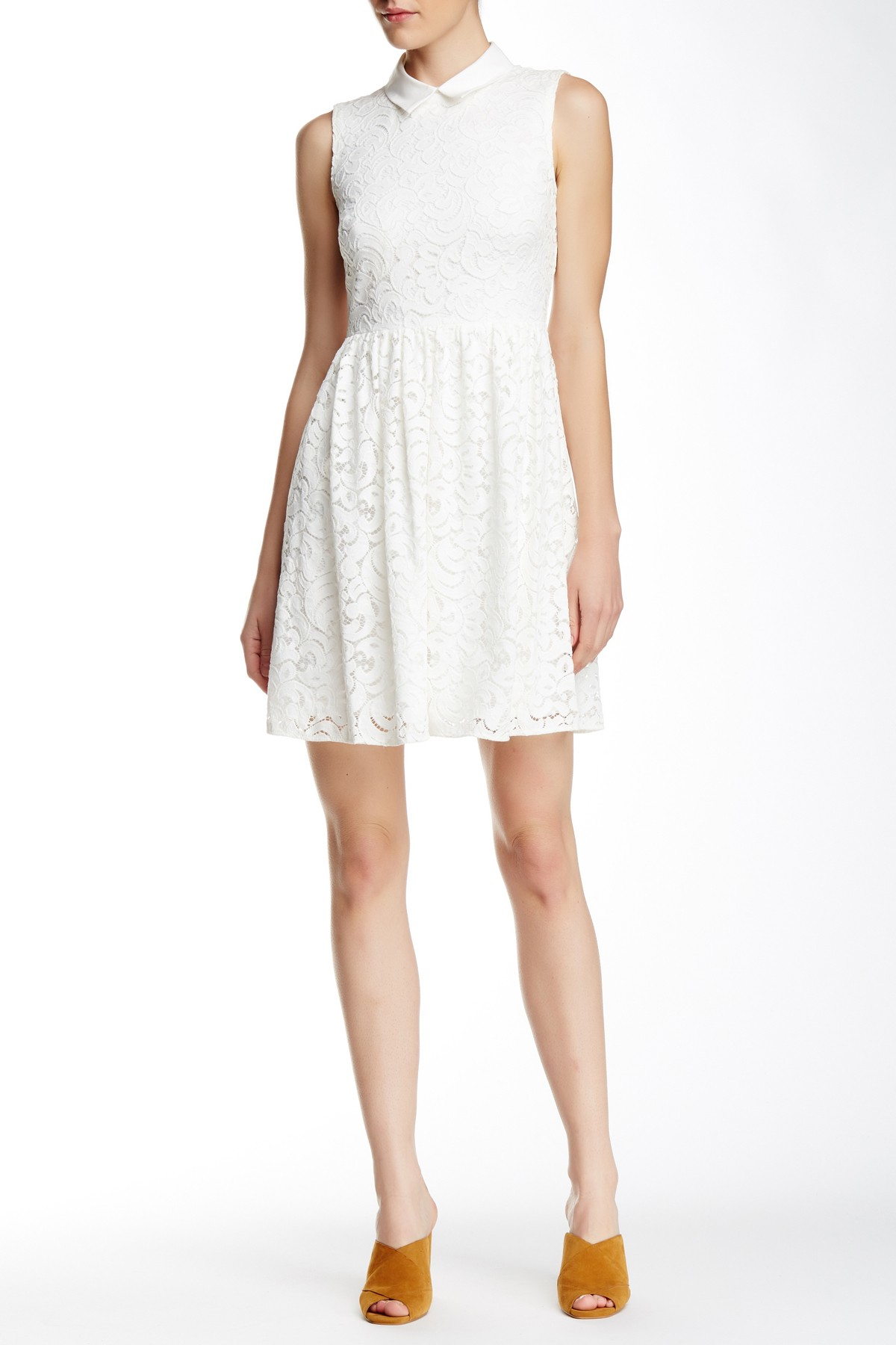 Betsey Johnson Lace Collar Dress In White Lyst