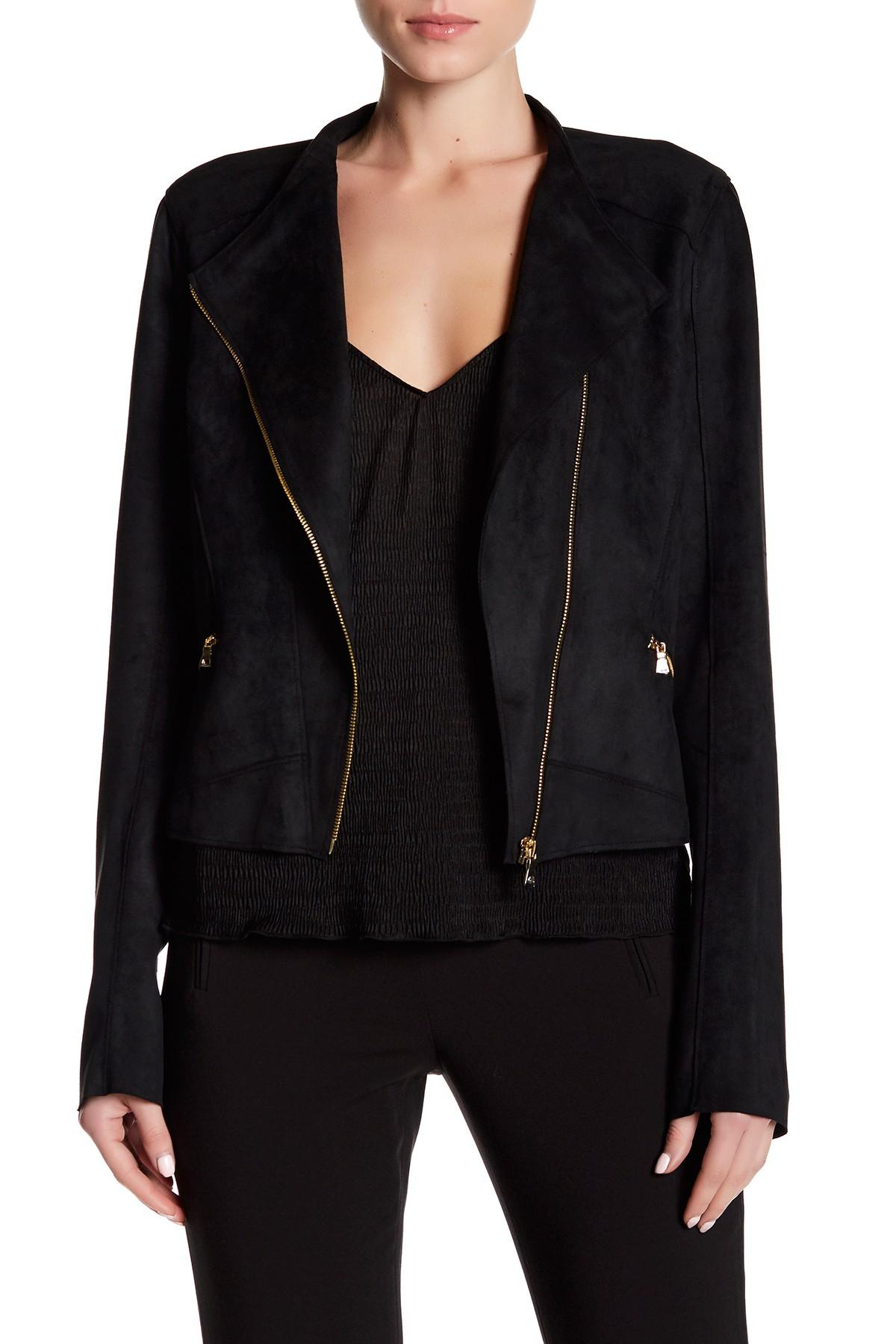 Lyst T Tahari Oriana Faux Suede Jacket In Black