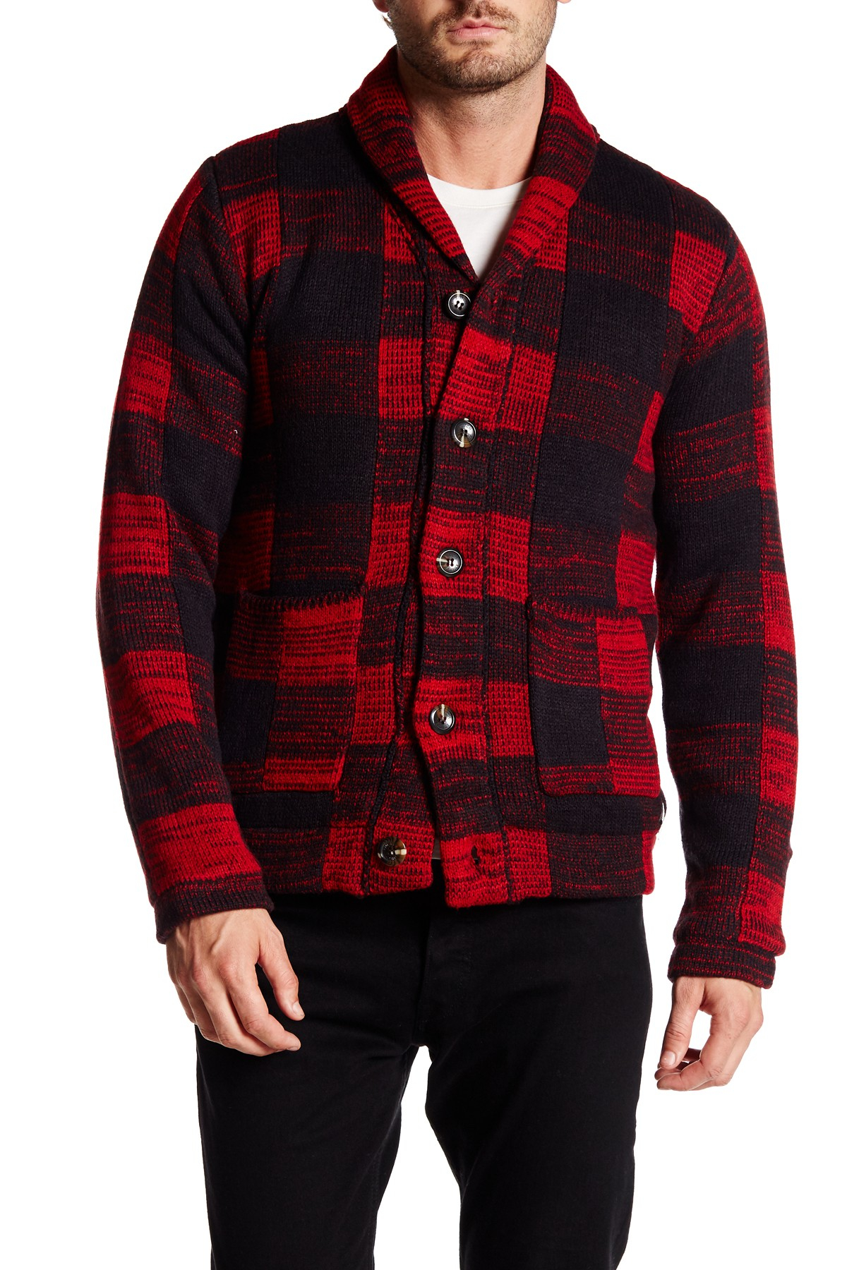 Lyst American Stitch Buffalo Plaid Shawl Neck Cardigan