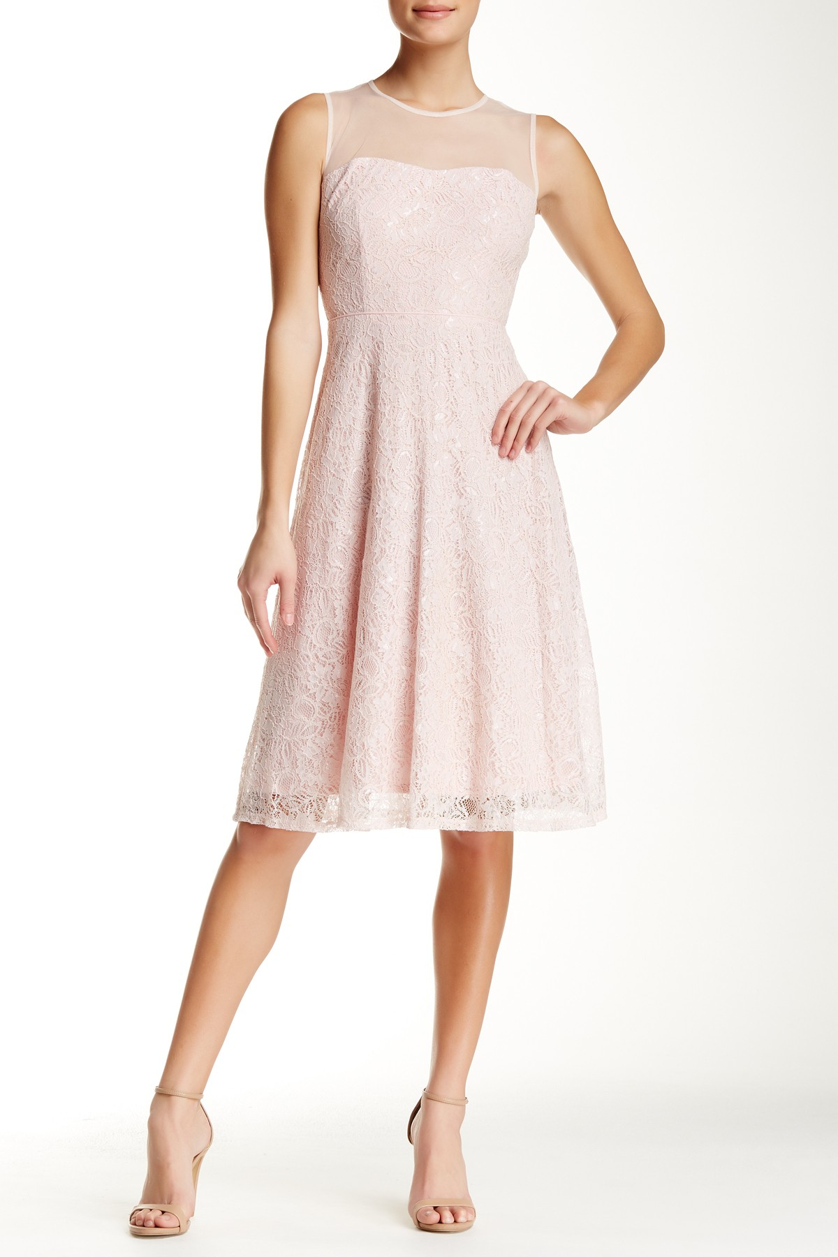 21c072ce74 Lyst - Maggy London Sleeveless Illusion Yoke Midi Flare Dress in Pink