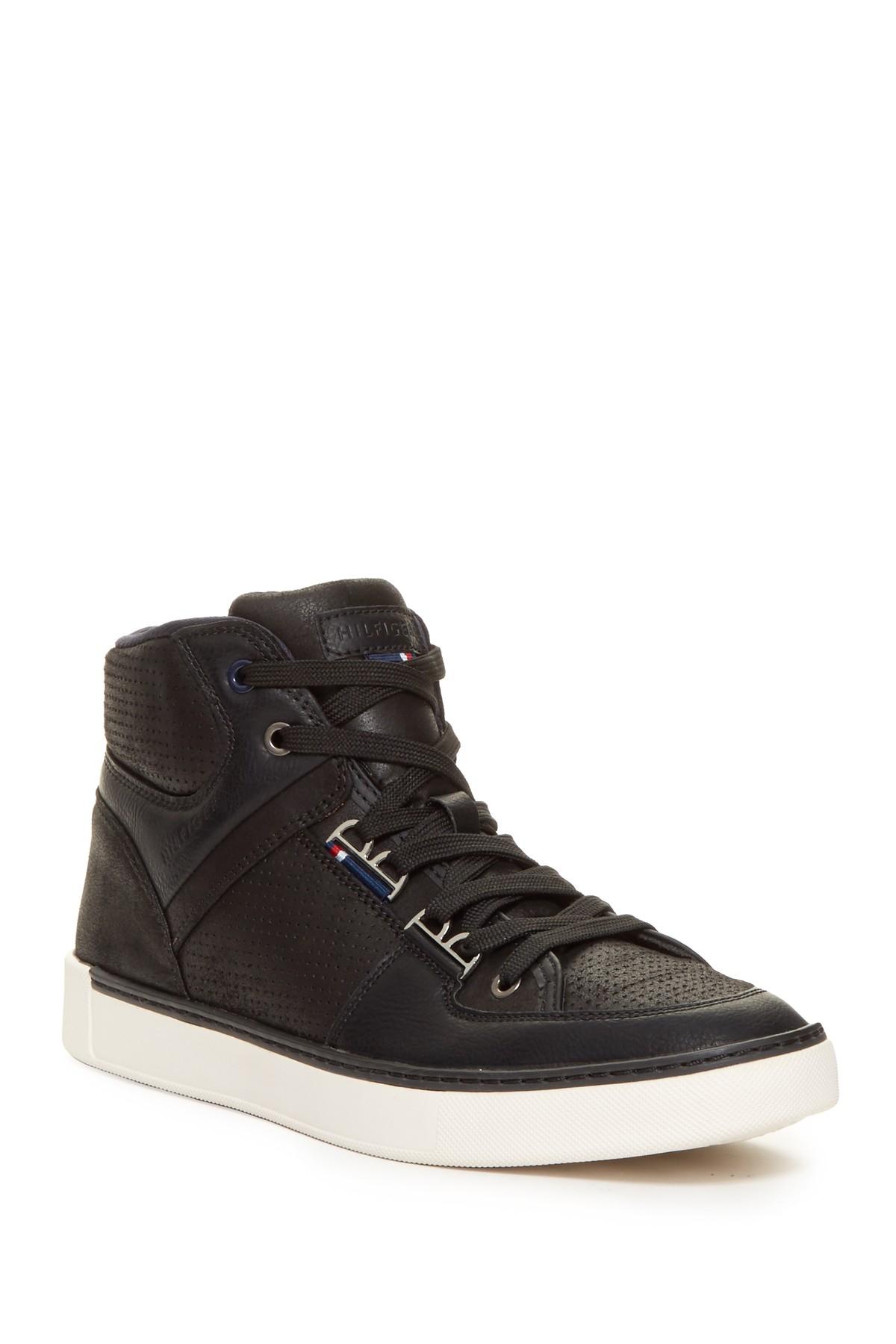 tommy hilfiger keon high top sneaker in black for men lyst. Black Bedroom Furniture Sets. Home Design Ideas