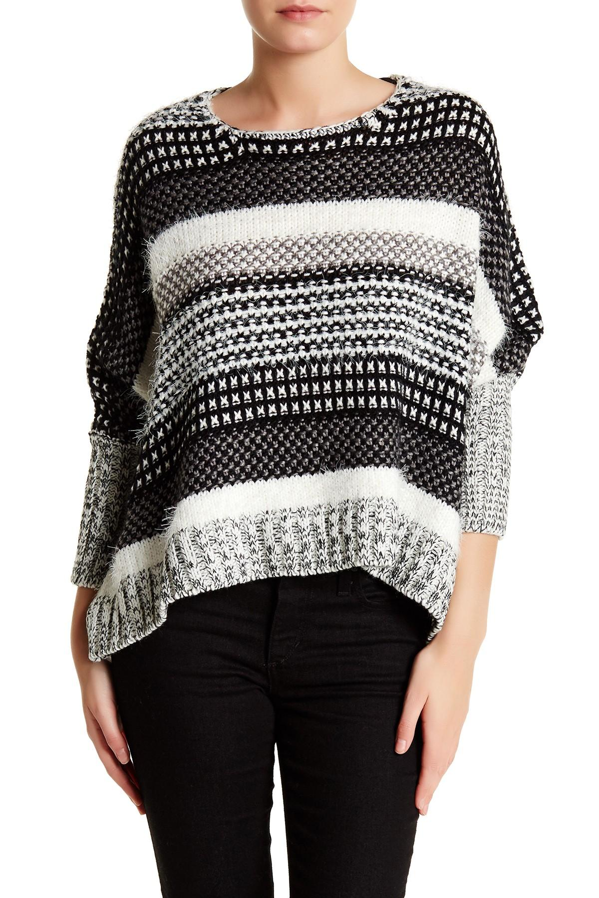Stitch Knitted Sweater Together : Love stitch Mixed Knit Cropped Sweater Lyst