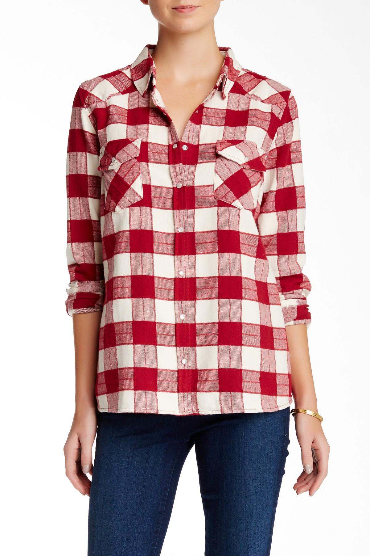 Lyst Love Stitch Long Sleeve Plaid Flannel Shirt In Red