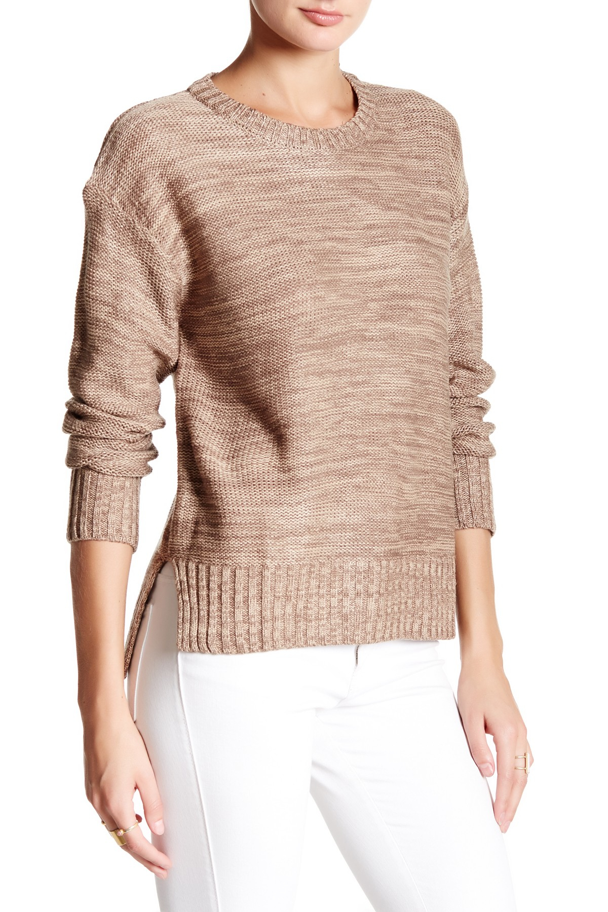 Honey Punch Crew Neck Hi Lo Pullover Sweater In Natural Lyst