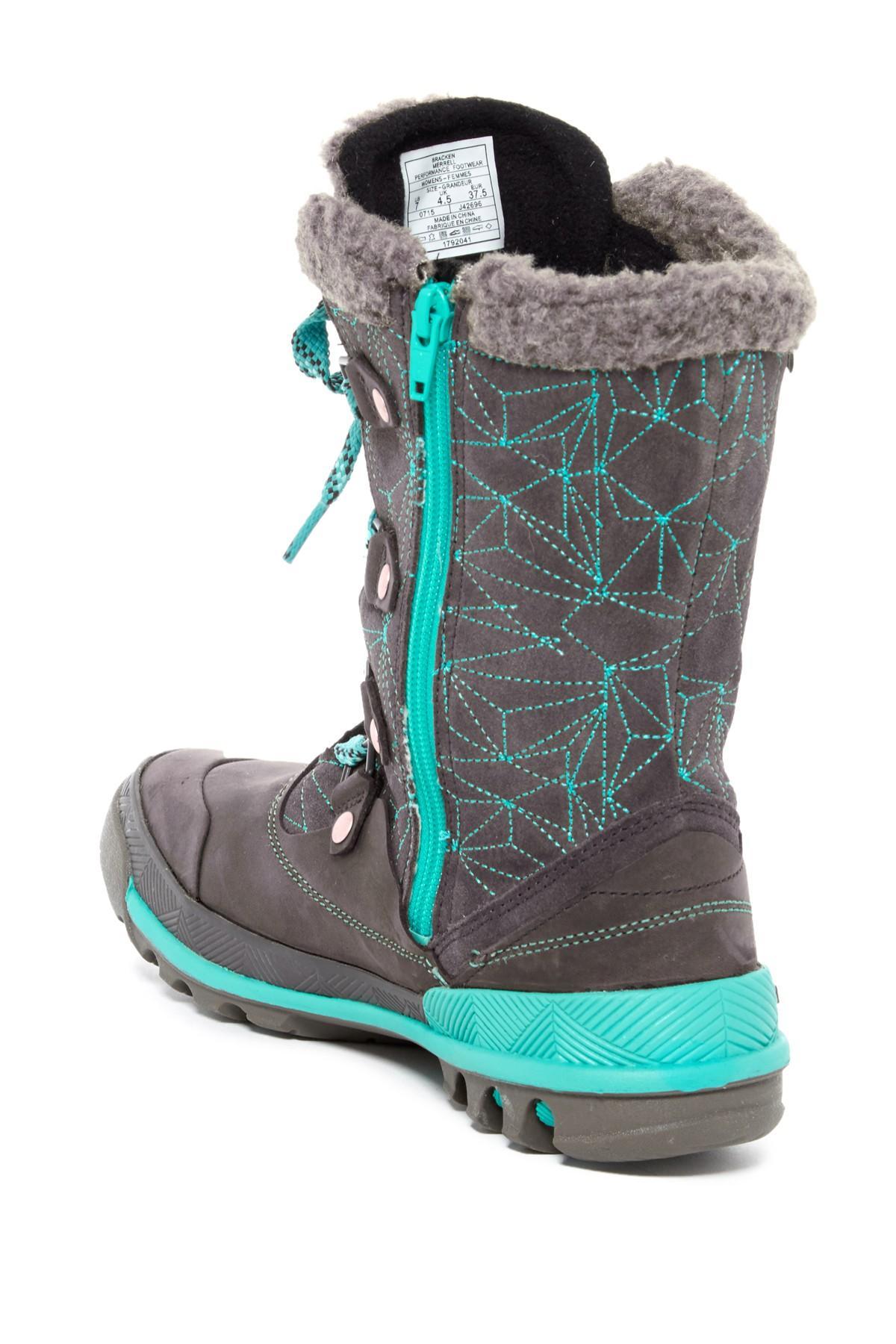 Lyst Merrell Silversun Lace Up Wool Trim Waterproof Boot