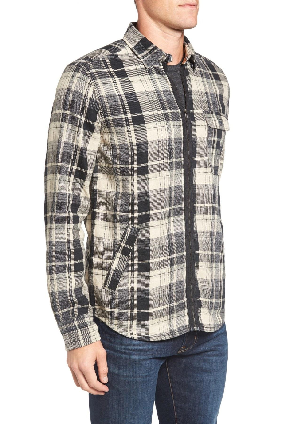 Lyst jeremiah fargo zip flannel shirt jacket in black for Zip front flannel shirt