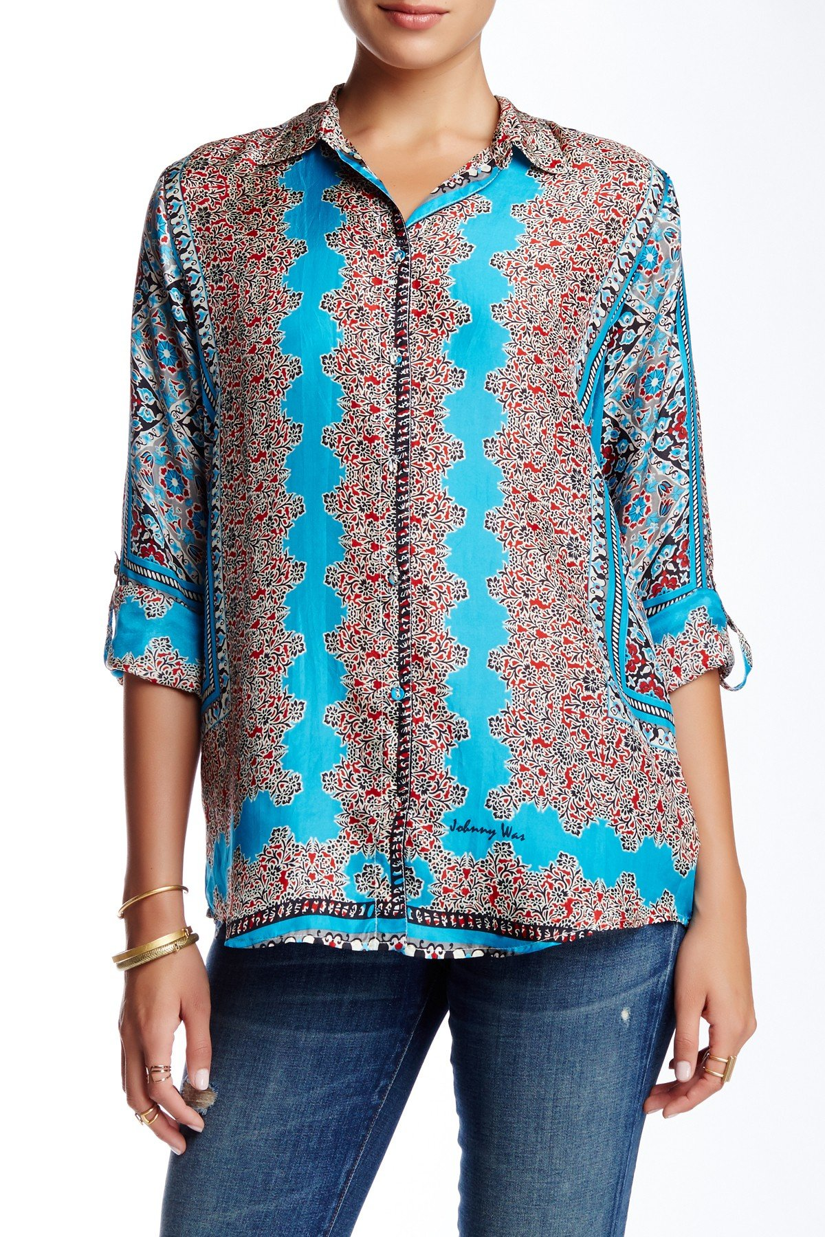 Johnny Was Villa Long Sleeve Printed Silk Blouse In Blue
