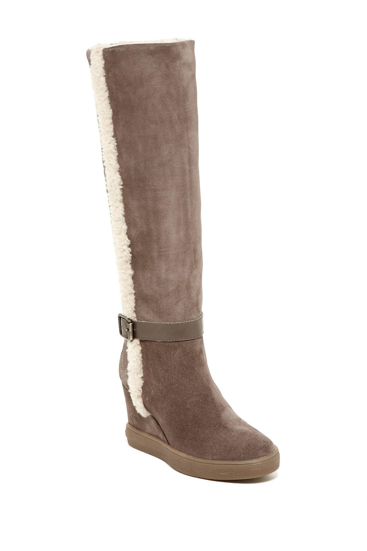 Aquatalia Callie Faux Fur Trim Boot in Brown