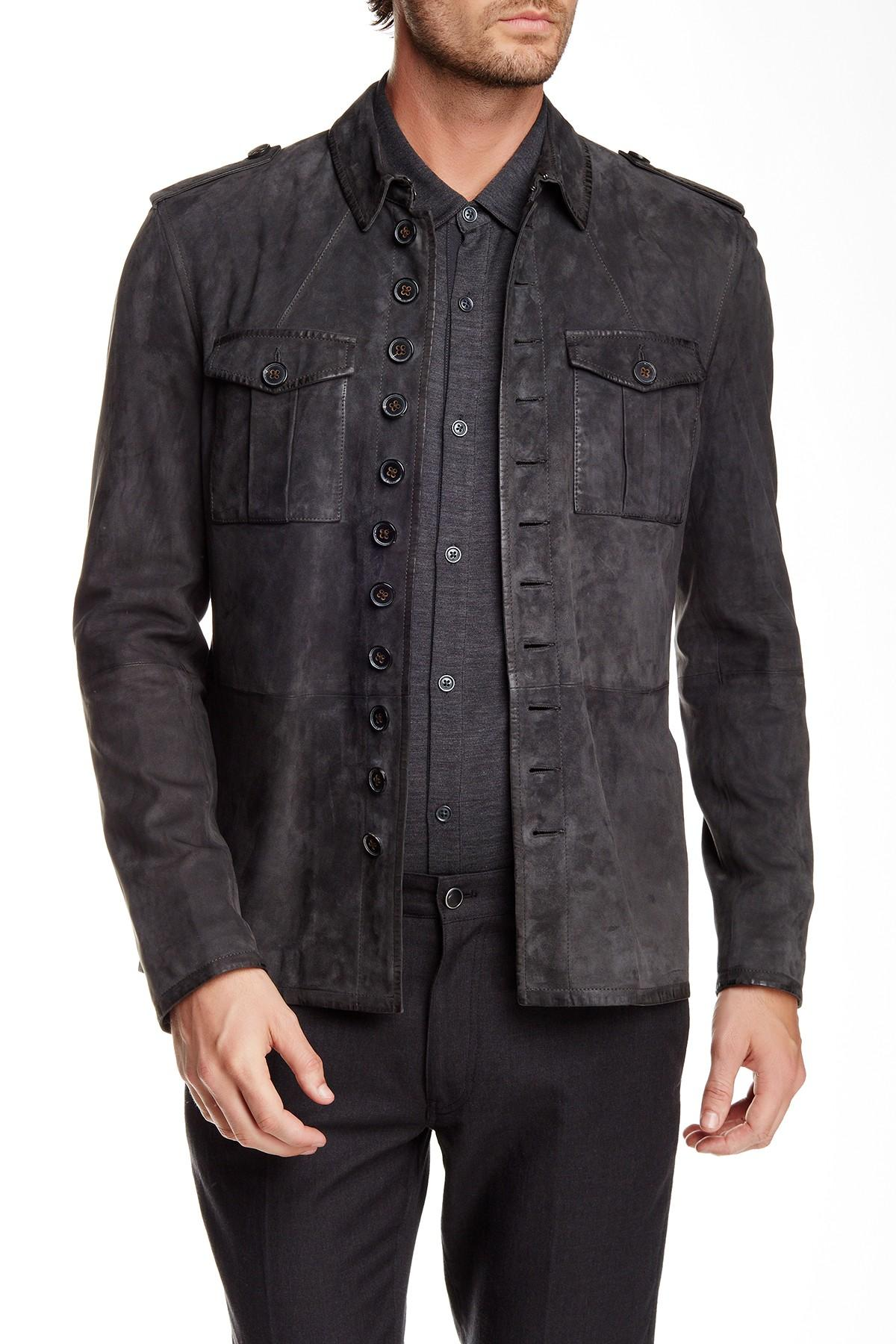 Suede Jacket Outfits For Men 20 Ways To Wear A Suede Jacket: John Varvatos Military Button Front Suede Jacket In