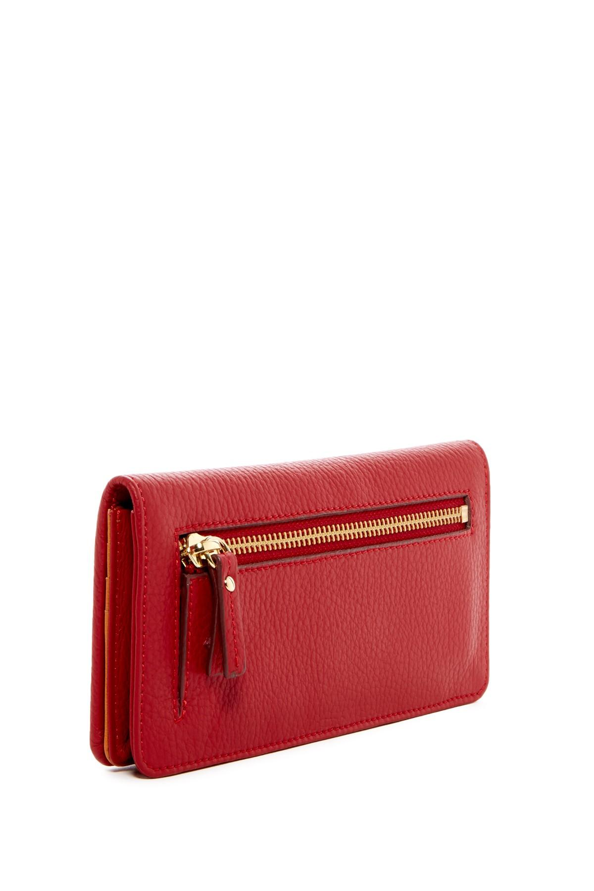Lyst Tusk Gusseted Clutch Leather Wallet In Red