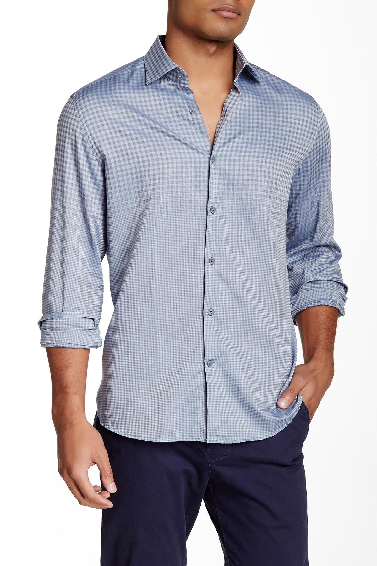 Stone Rose Woven Gradual Checkered Print Regular Fit Shirt