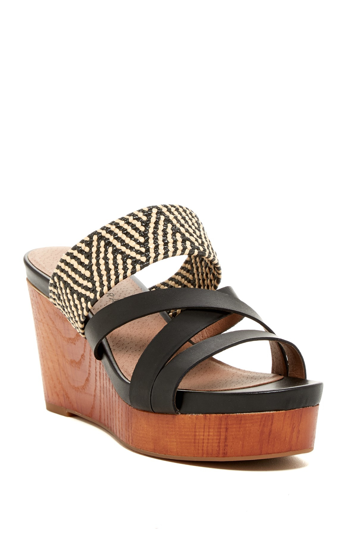 lucky brand nyloh wedge sandal in multicolor blk ntrl blk